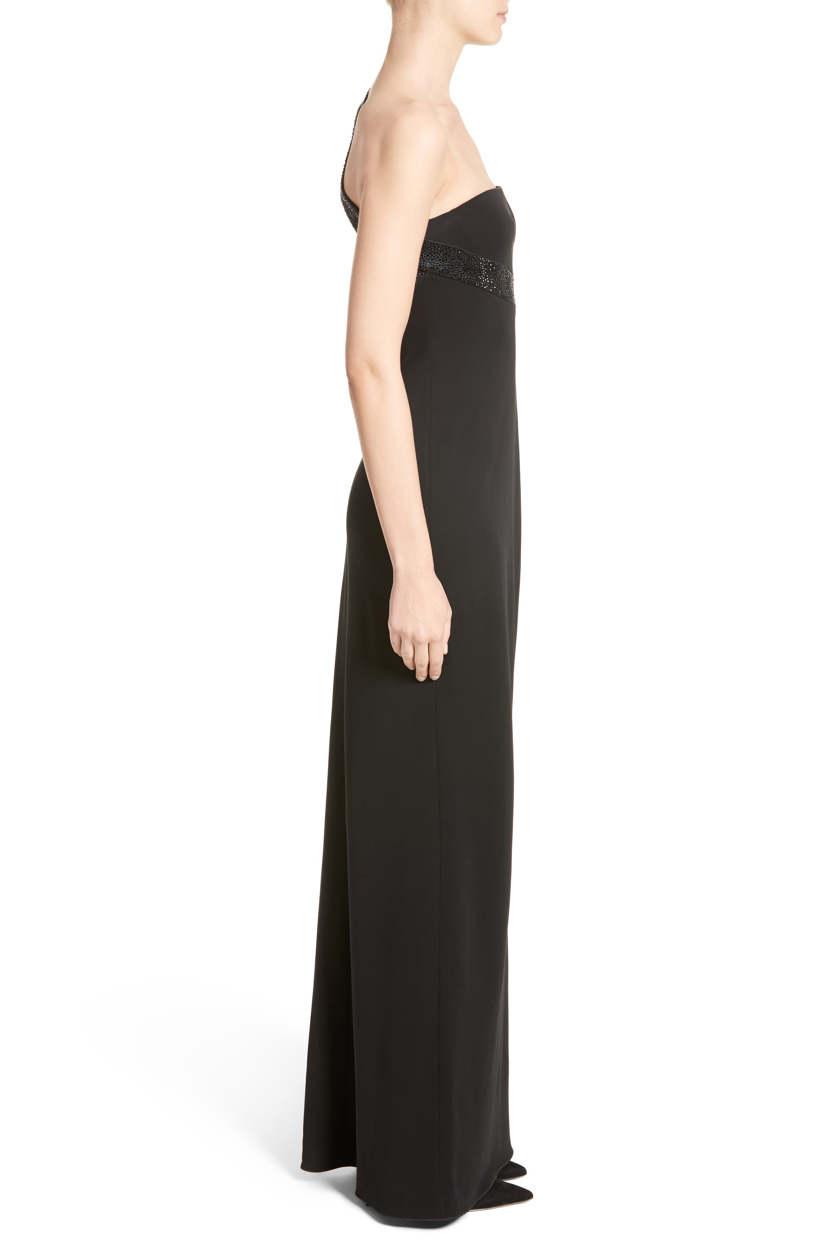 Crystal Trim Matte Jersey Gown,                             Alternate thumbnail 3, color,                             020