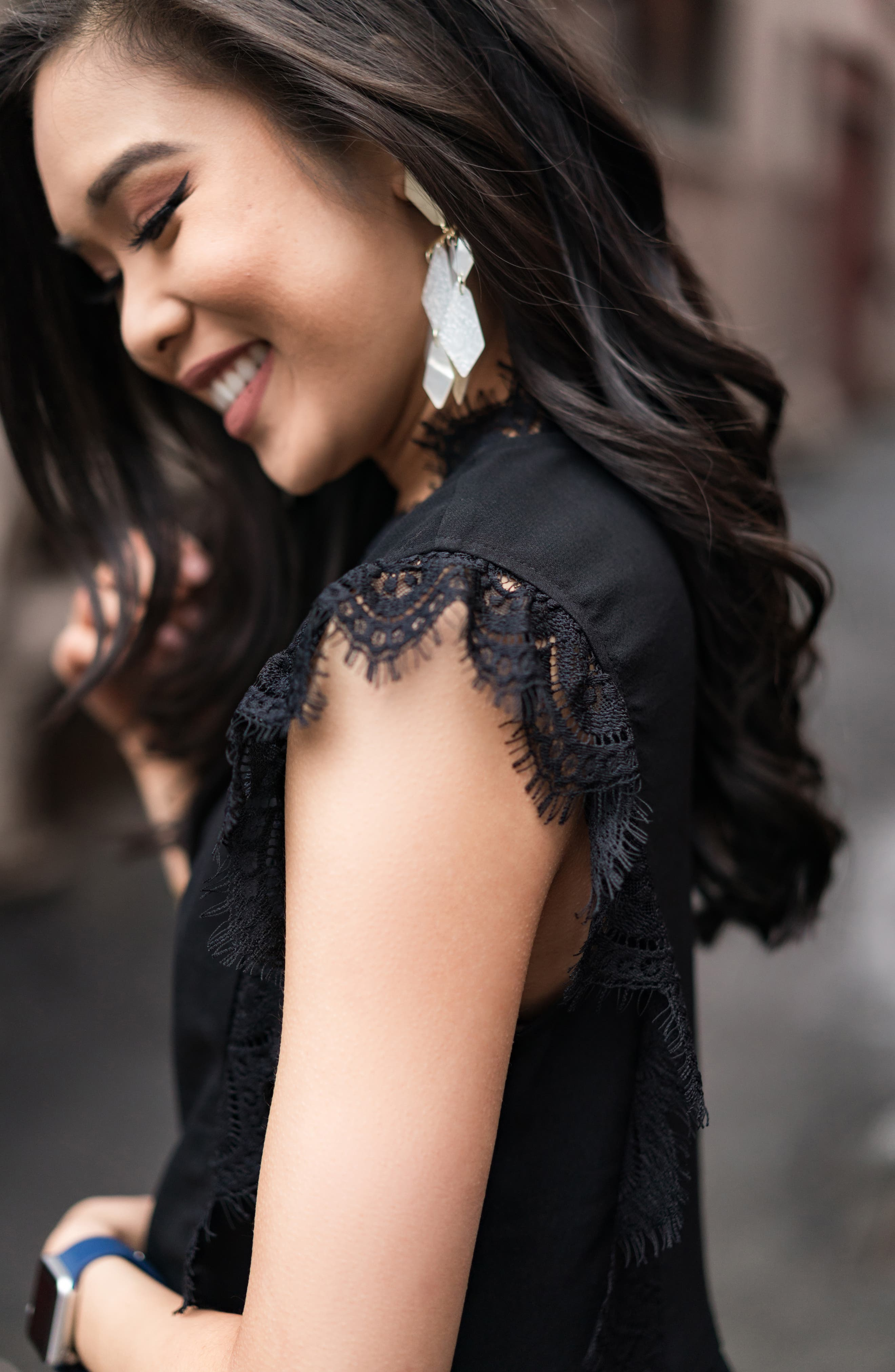 GIBSON,                             x International Women's Day Hoang-Kim Eyelash Lace Detail Date Top,                             Alternate thumbnail 8, color,                             BLACK