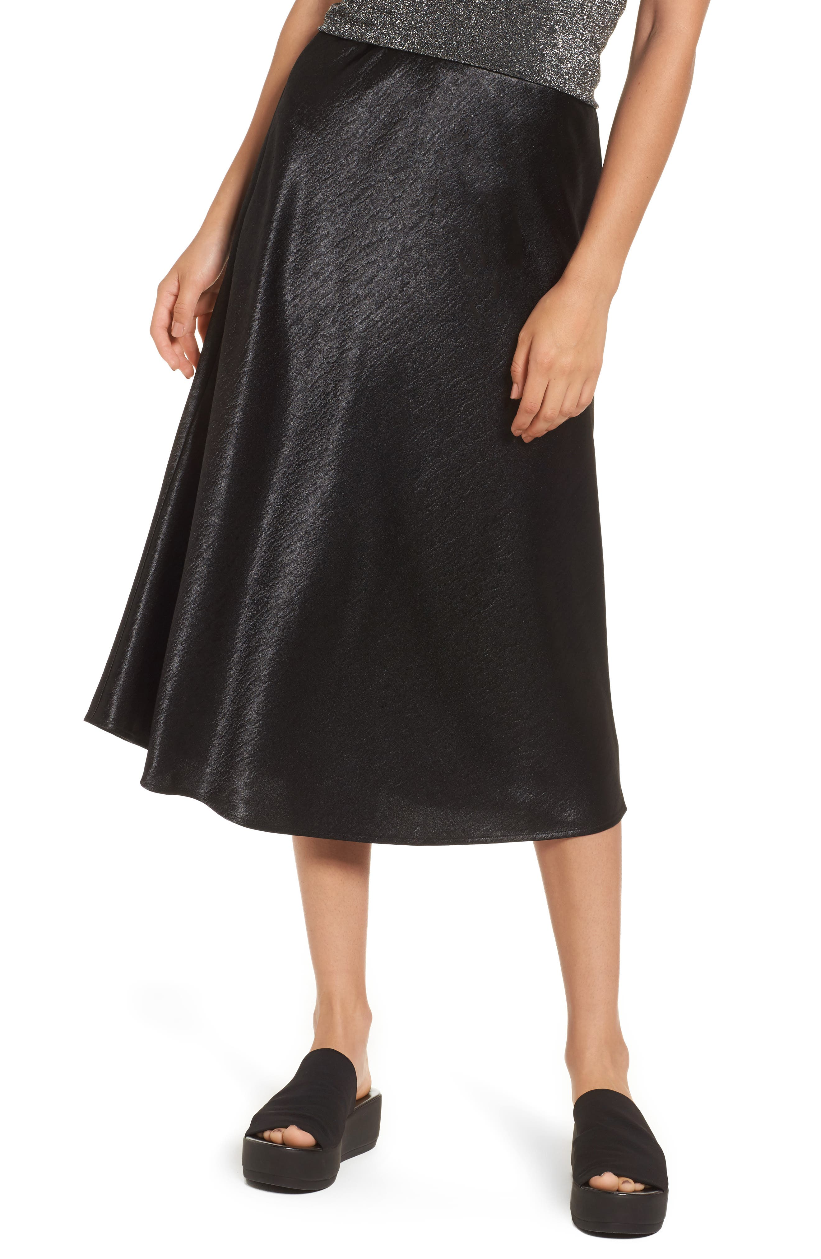 Satin Midi Skirt,                         Main,                         color,