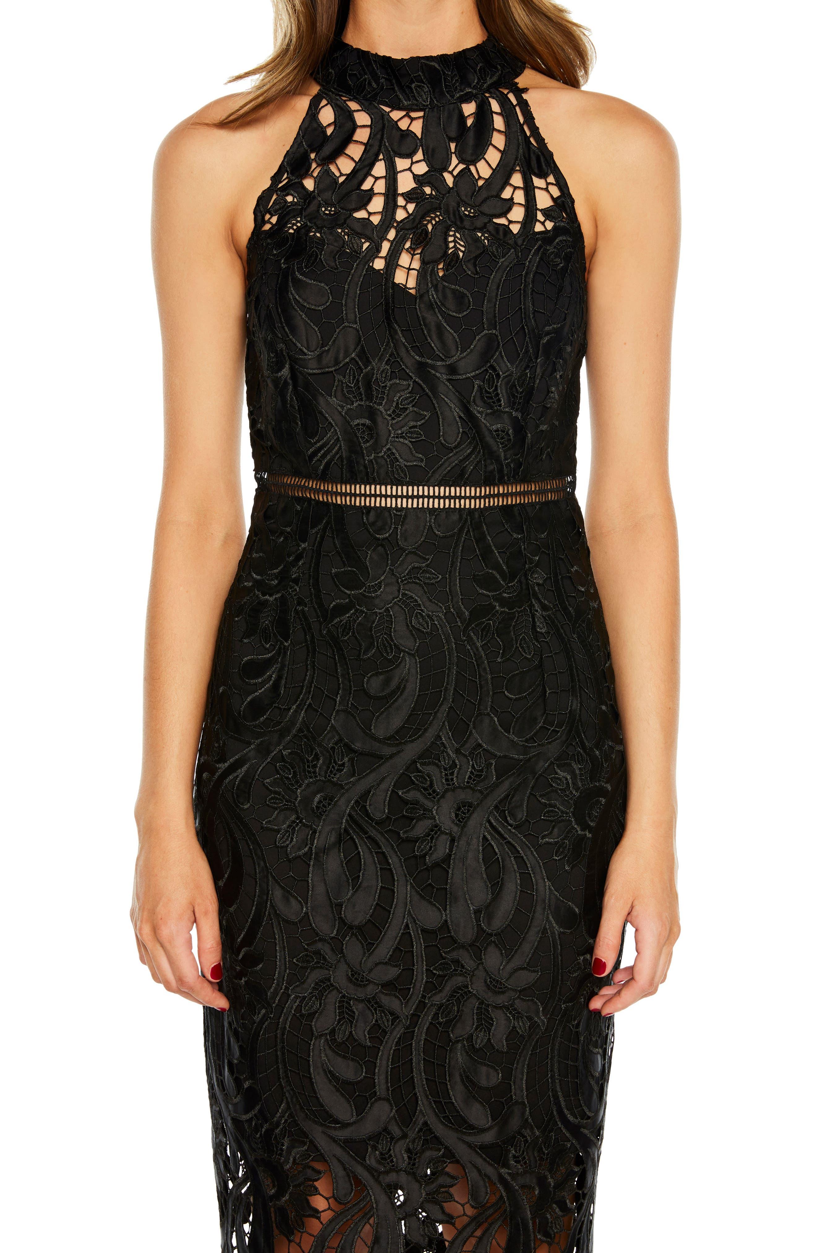 Isa Lace Halter Dress,                             Alternate thumbnail 4, color,                             BLACK