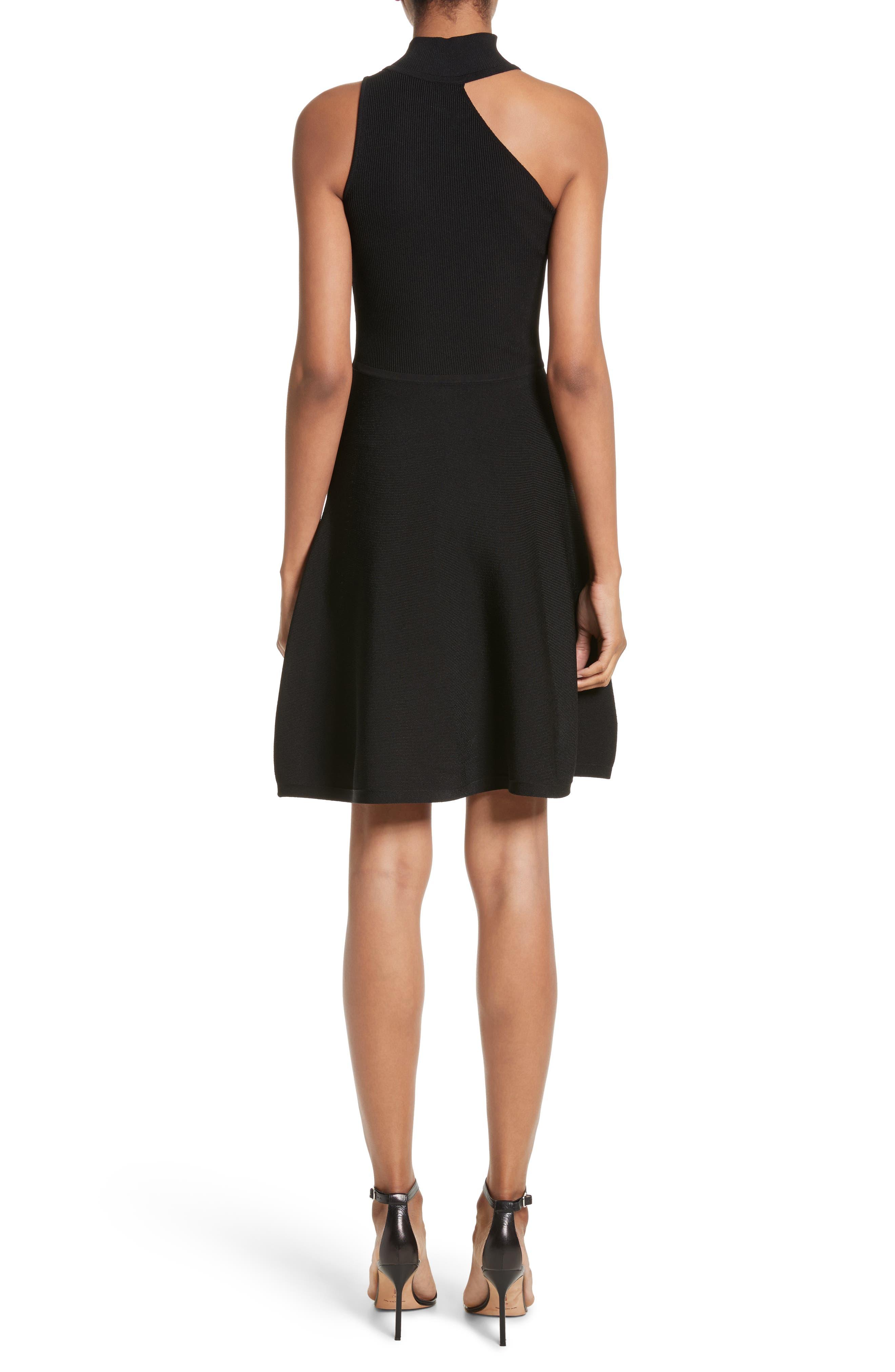 Vika One-Shoulder Knit Flare Dress,                             Alternate thumbnail 2, color,                             001