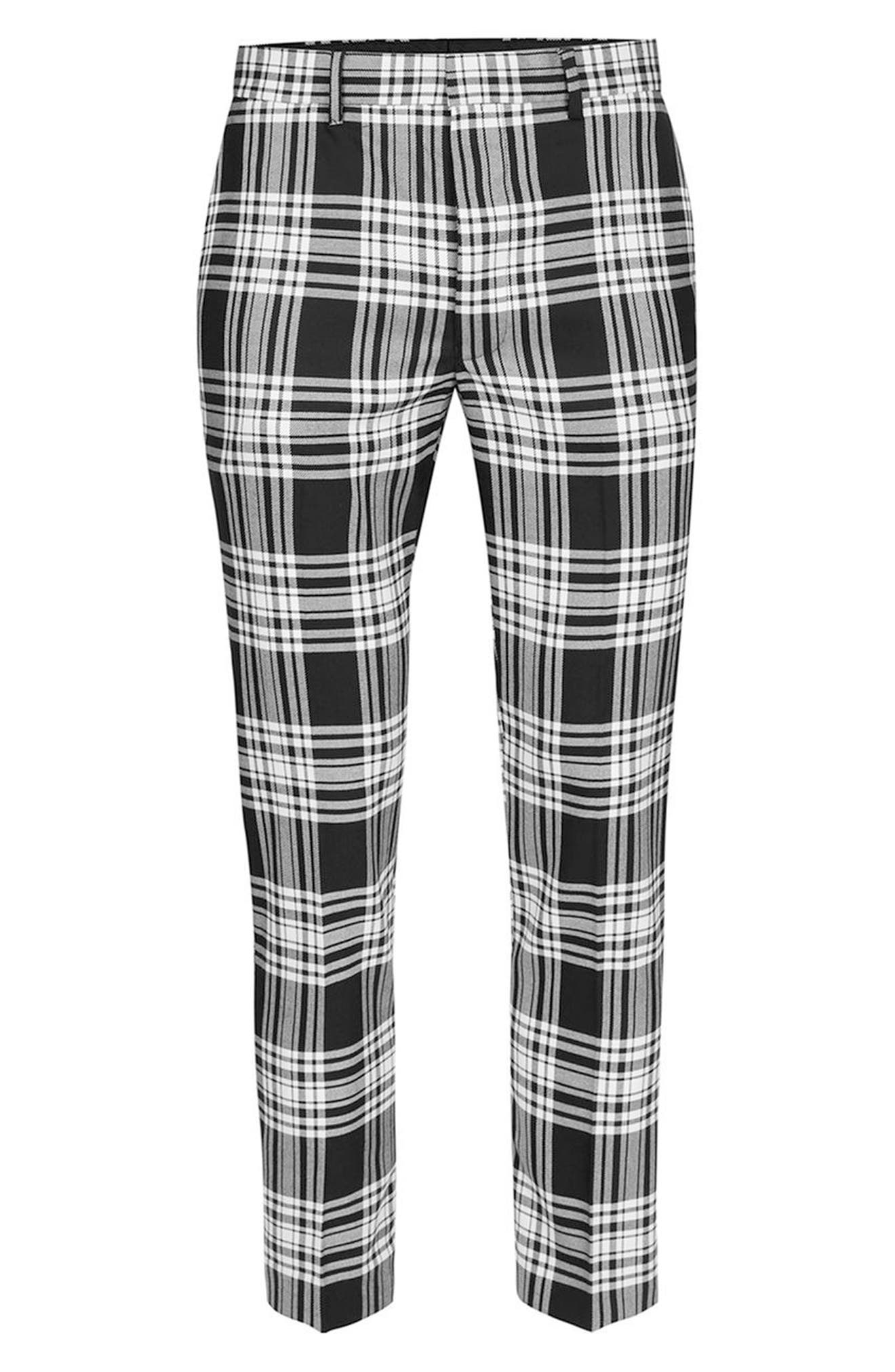 Plaid Ultra Skinny Fit Crop Trousers,                             Alternate thumbnail 4, color,                             001
