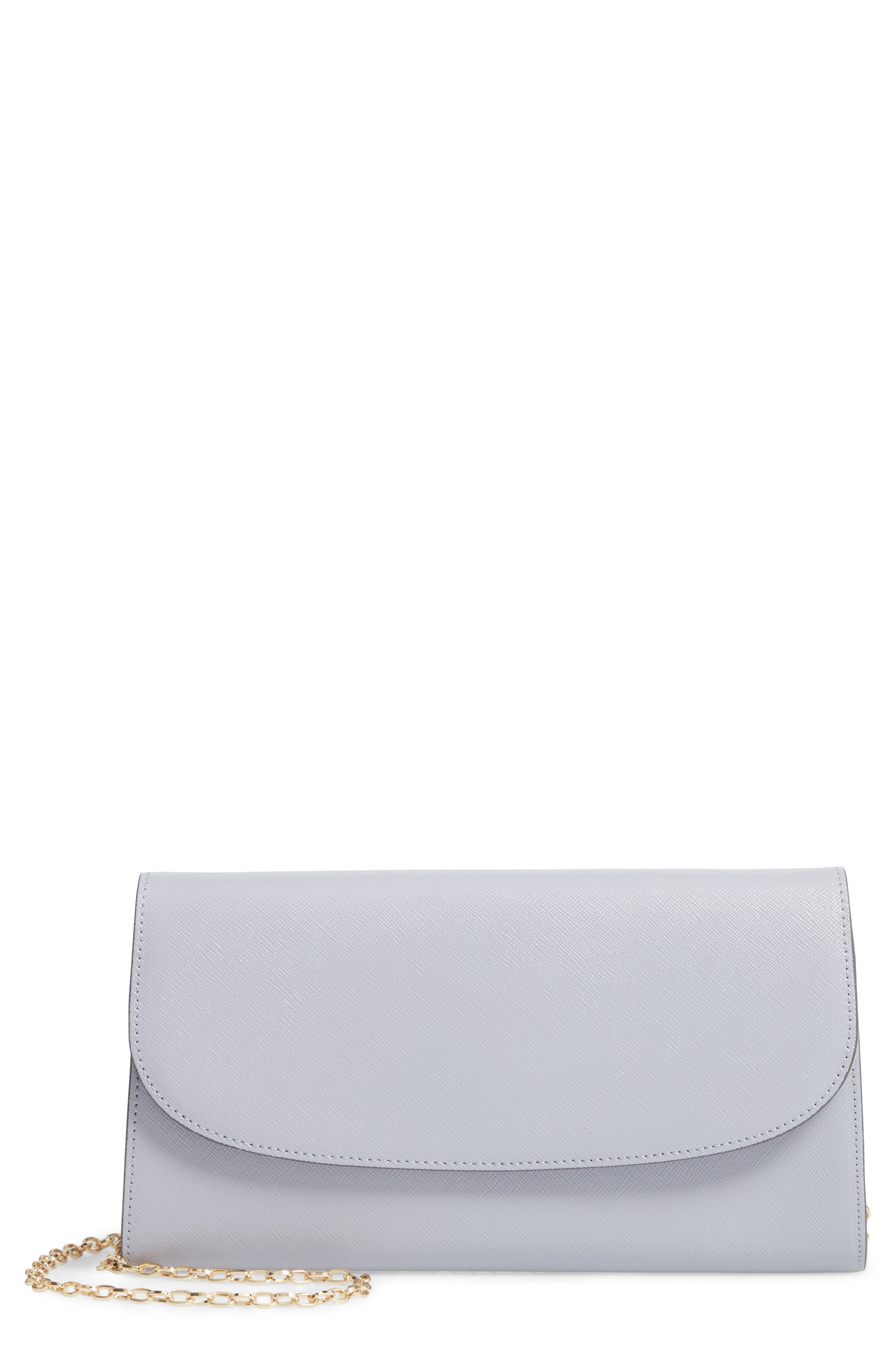 Leather Clutch, Main, color, GREY LILAC