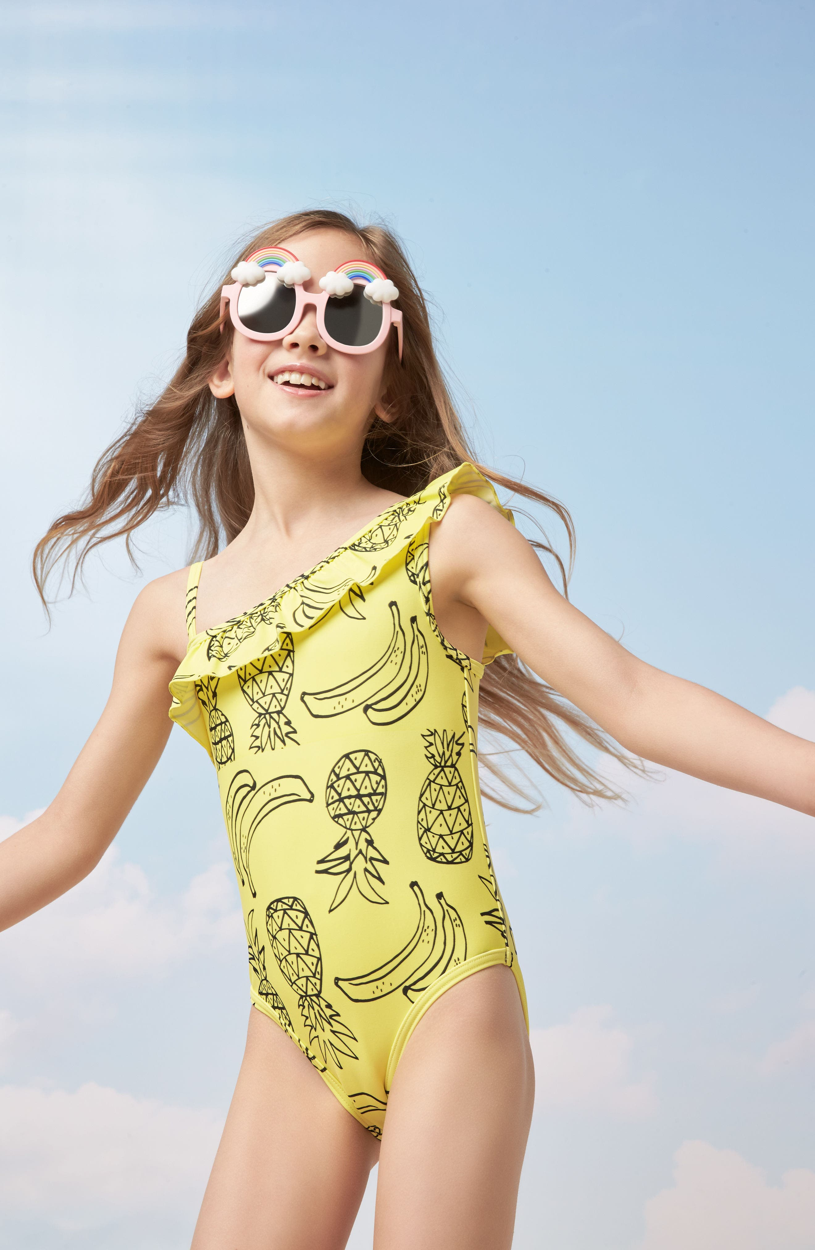 Pineapple Ruffle One-Piece Swimsuit,                             Alternate thumbnail 4, color,