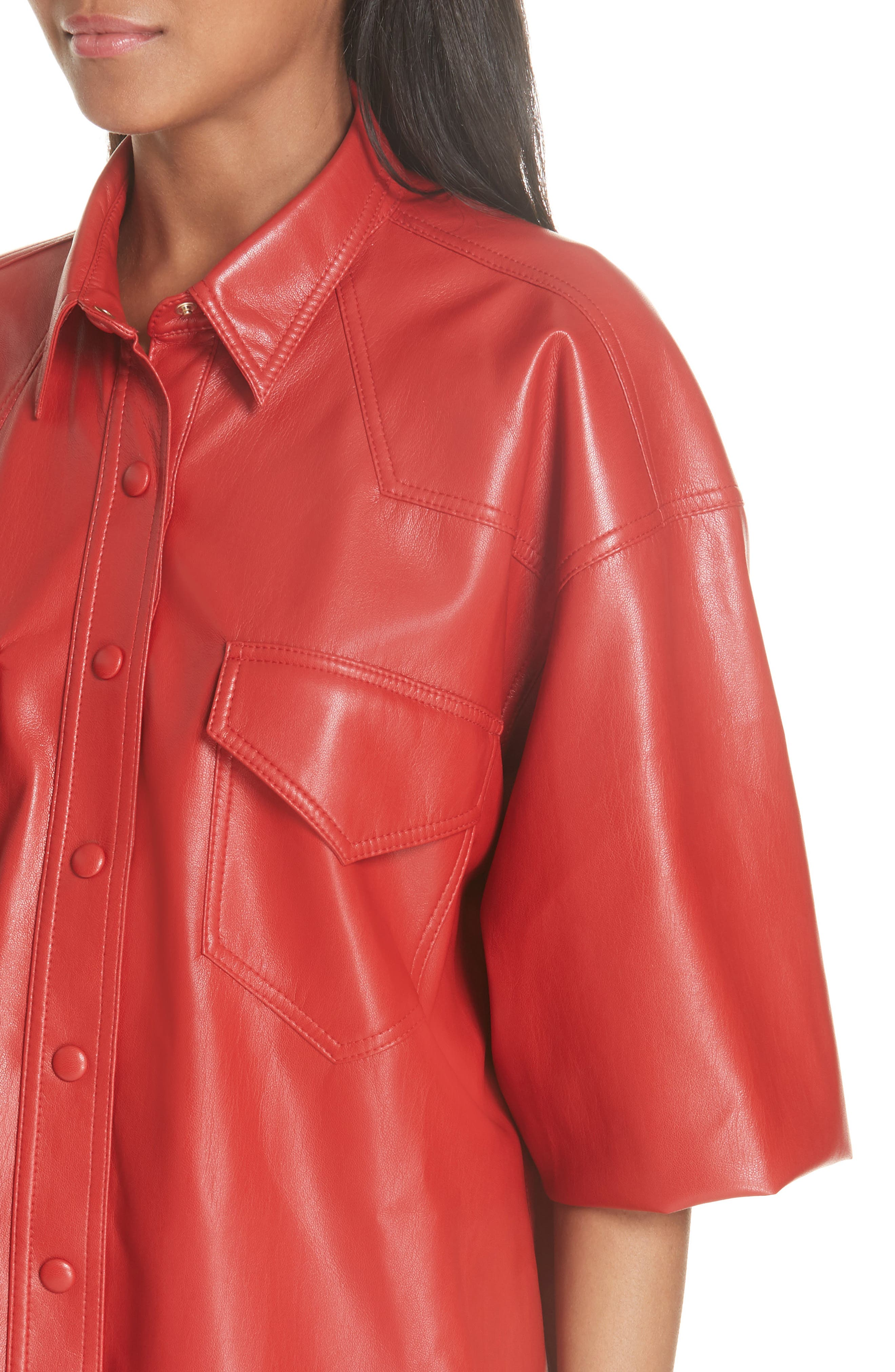 Seymour Faux Leather Shirt,                             Alternate thumbnail 4, color,                             RED