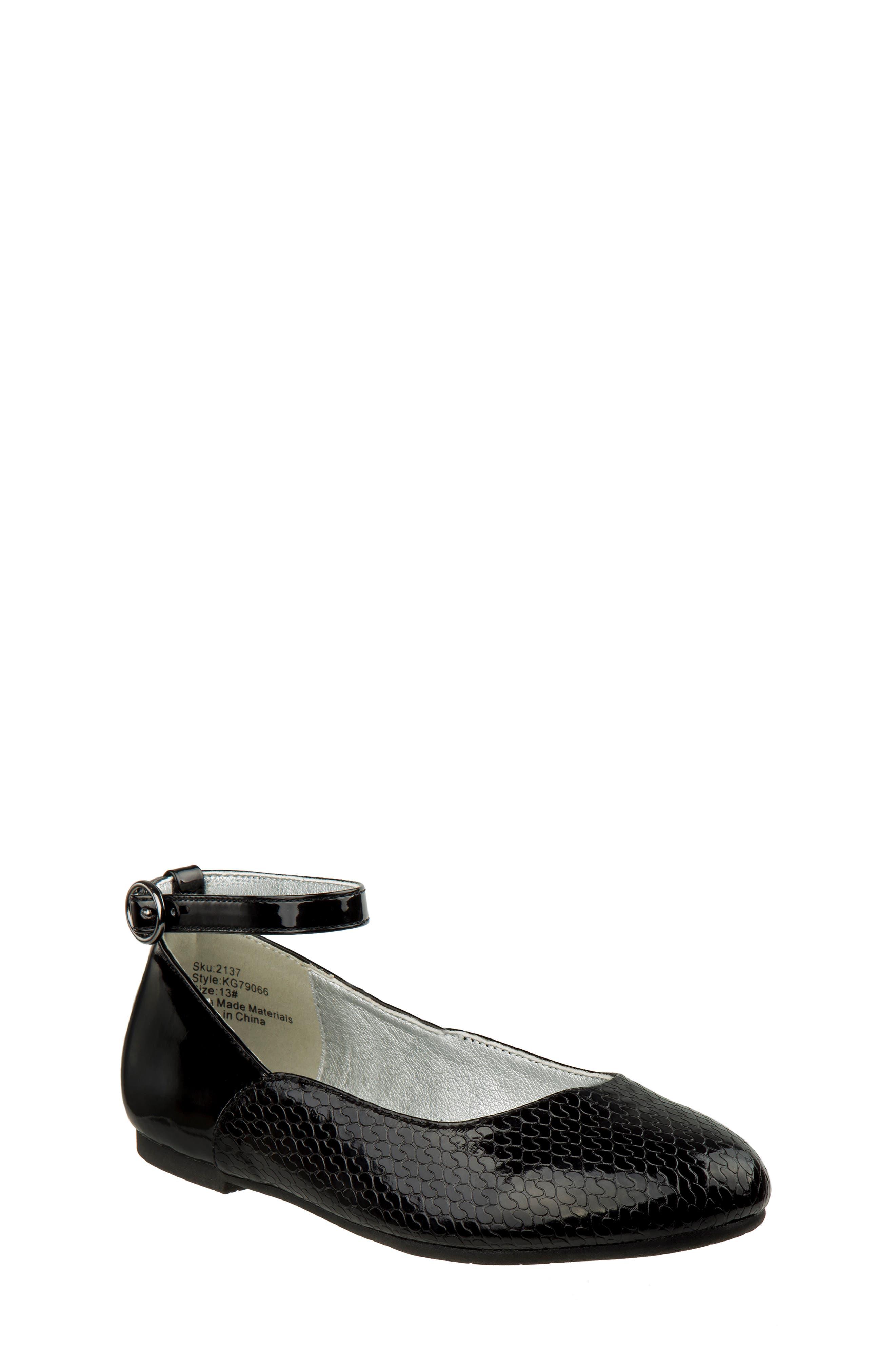 Ankle Strap Ballerina Flat,                             Main thumbnail 1, color,                             BLACK FAUX PATENT