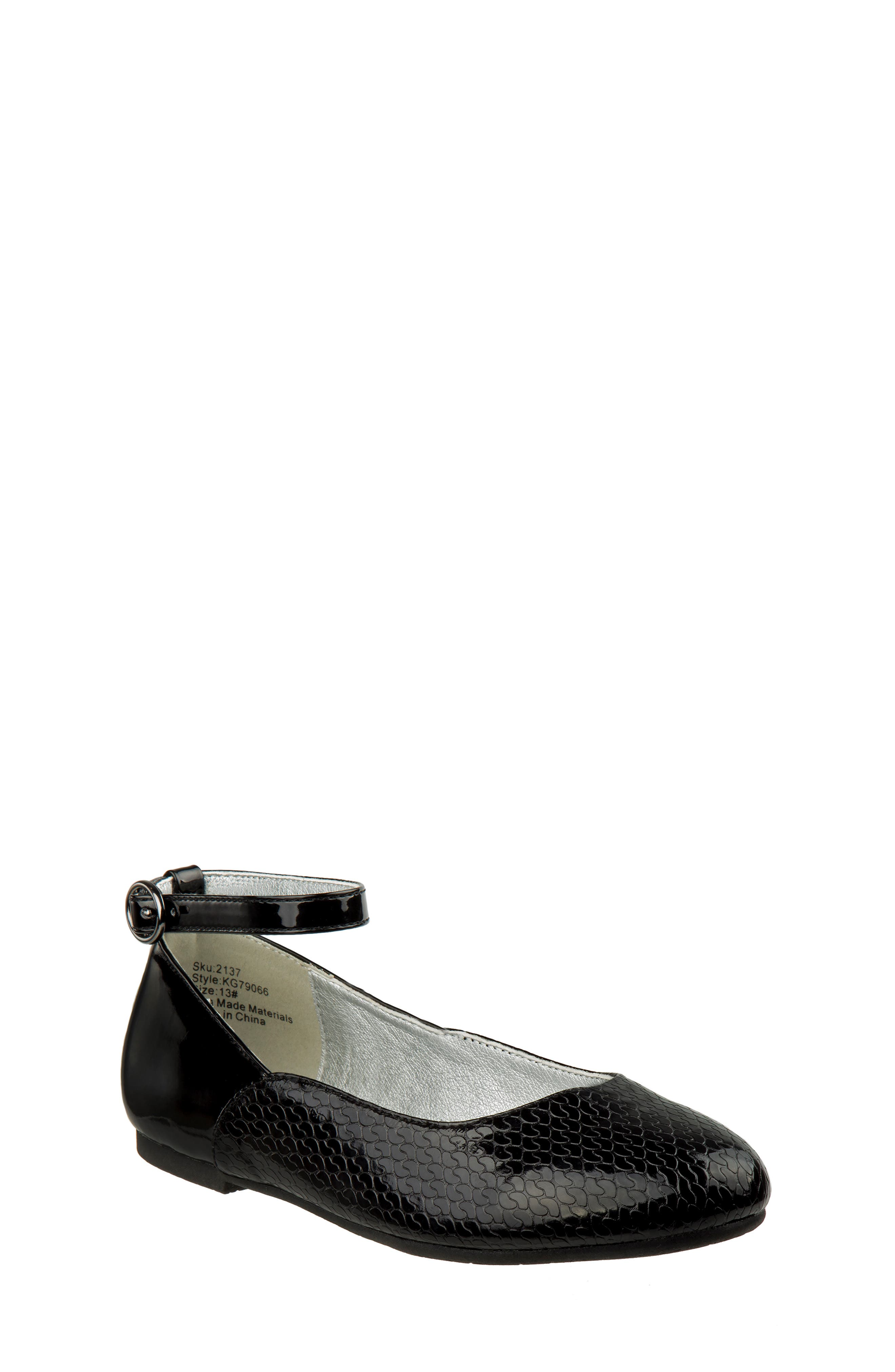 Ankle Strap Ballerina Flat,                         Main,                         color, BLACK FAUX PATENT