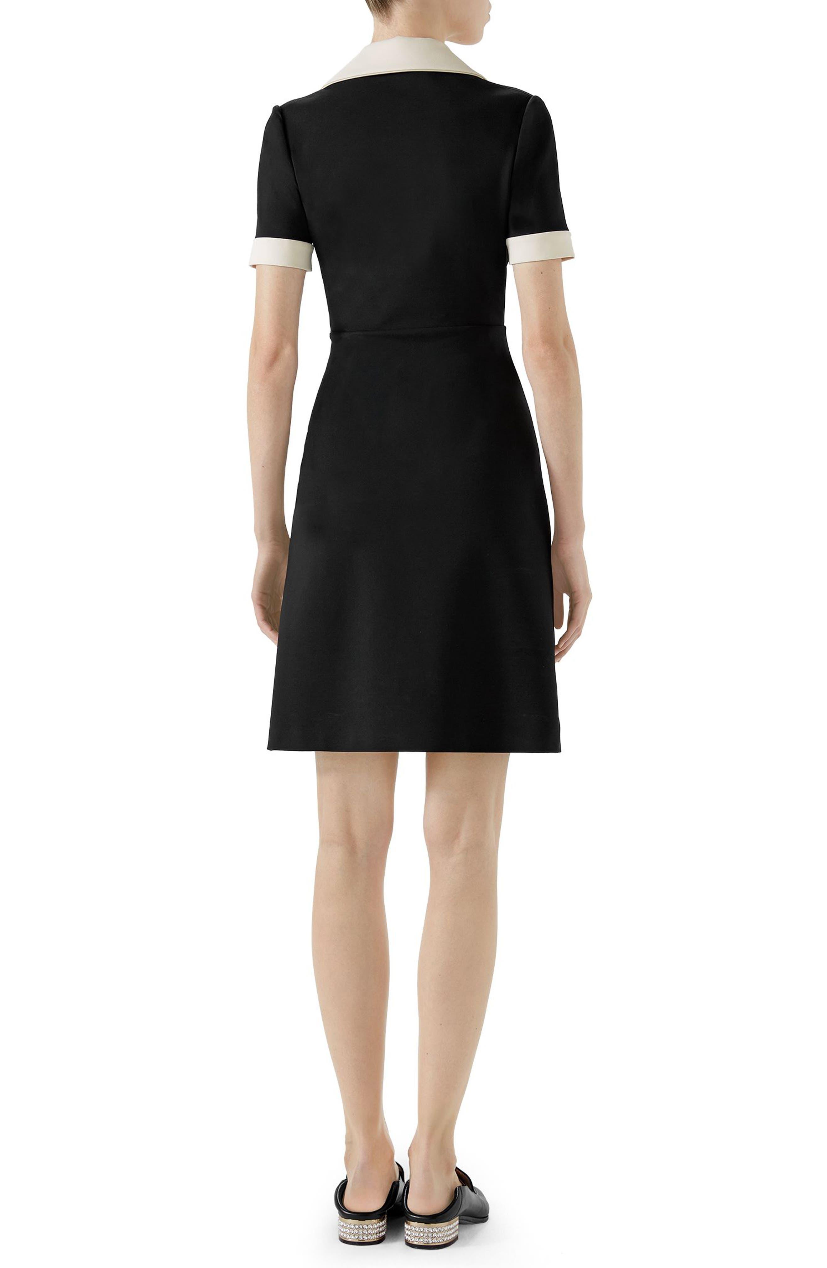 Tiger Button Contrast Trim Jersey Dress,                             Alternate thumbnail 2, color,                             BLACK/ ALMOND FLOWER