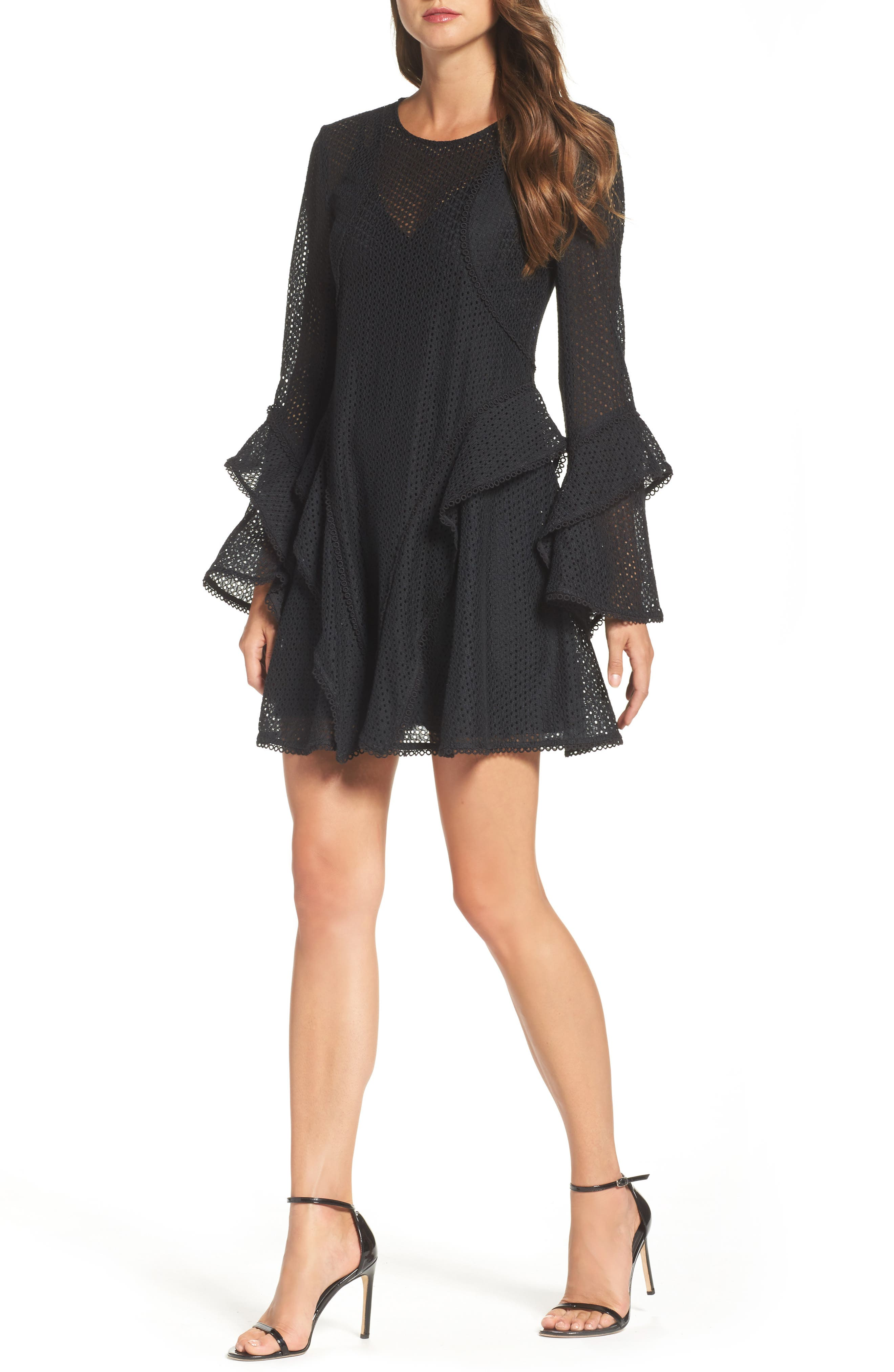 Aspire Lace Bell Sleeve Minidress,                             Main thumbnail 1, color,                             001