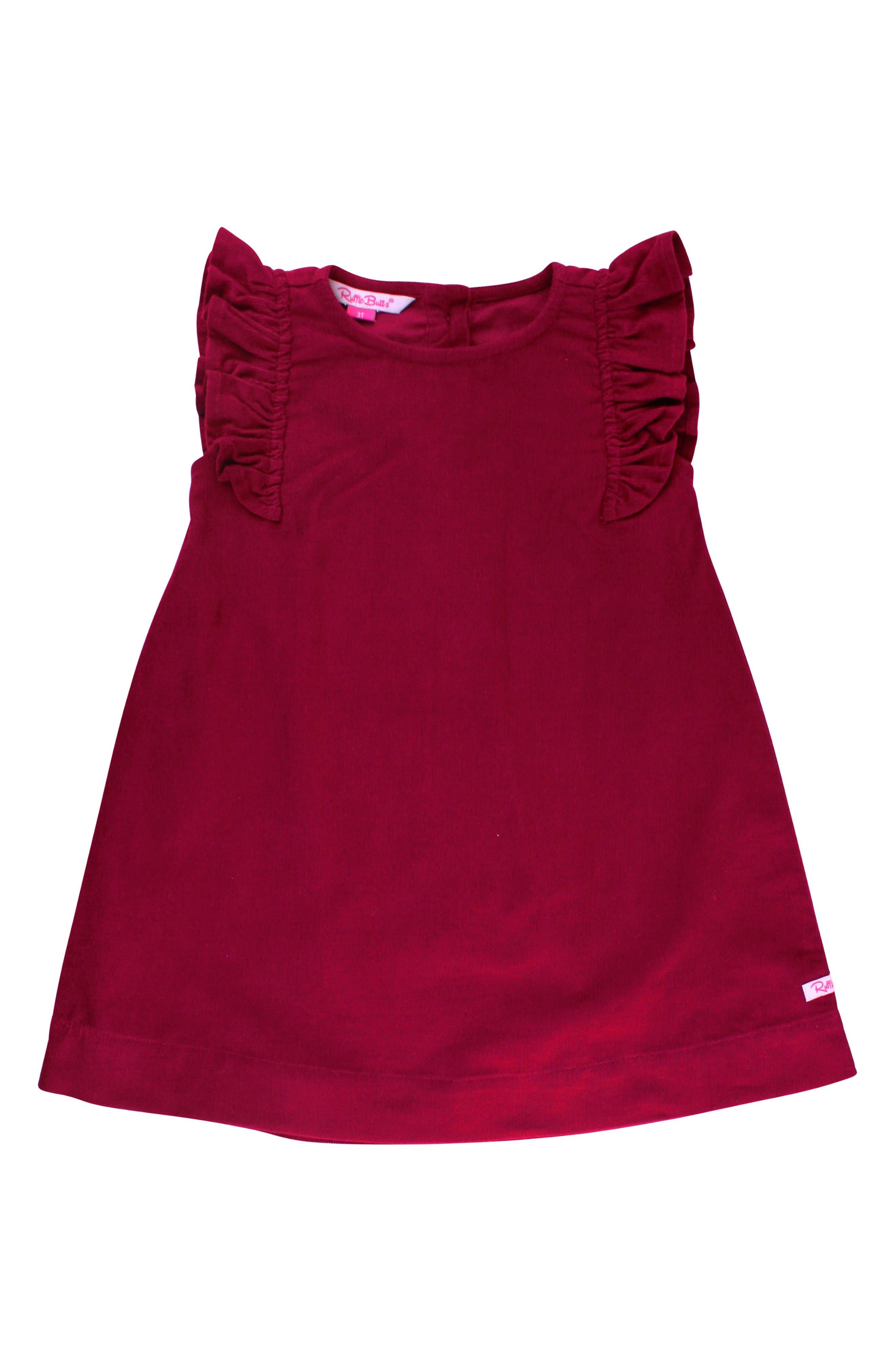 Bodysuit & Corduroy Dress Set,                             Alternate thumbnail 3, color,                             DARK RED
