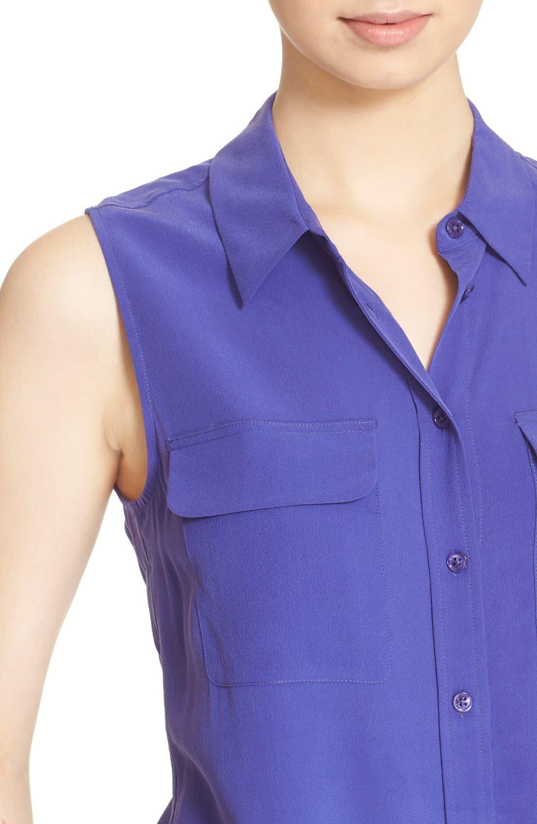 'Slim Signature' Sleeveless Silk Shirt,                             Alternate thumbnail 166, color,