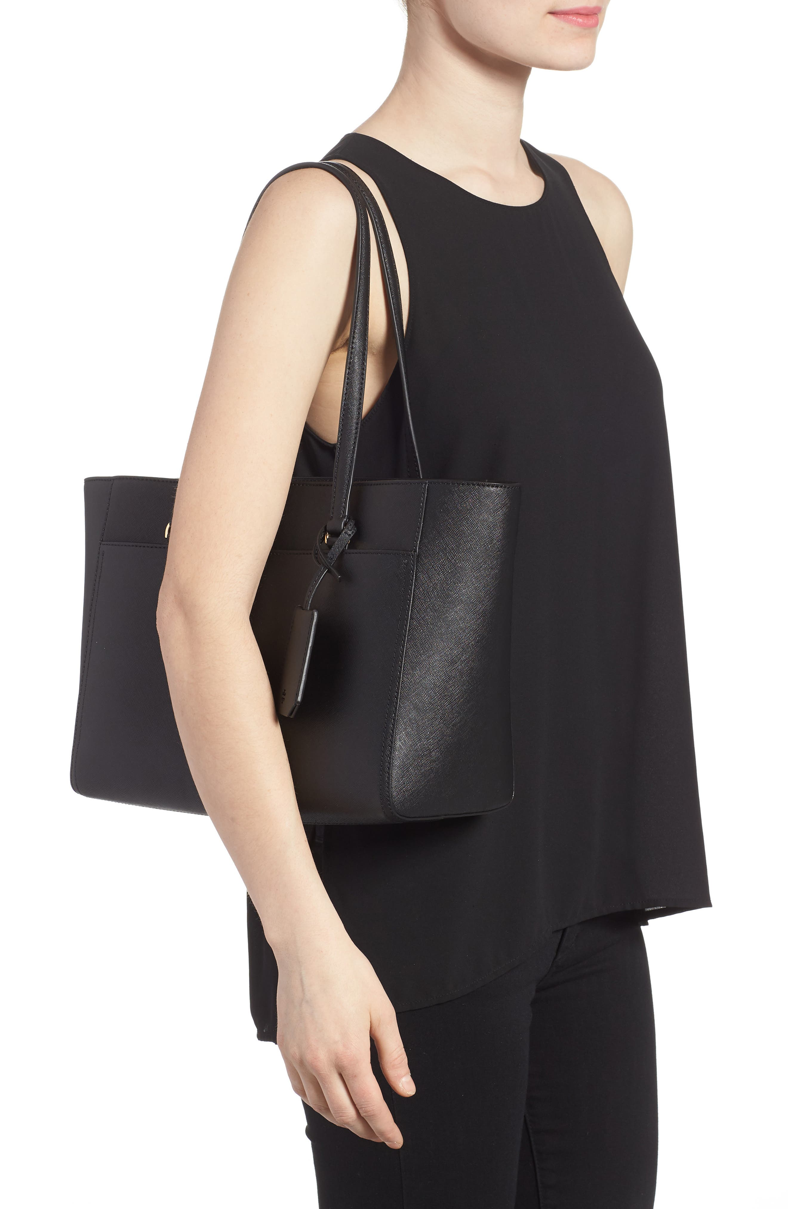 Small Robinson Leather Tote,                             Alternate thumbnail 2, color,                             BLACK / ROYAL NAVY