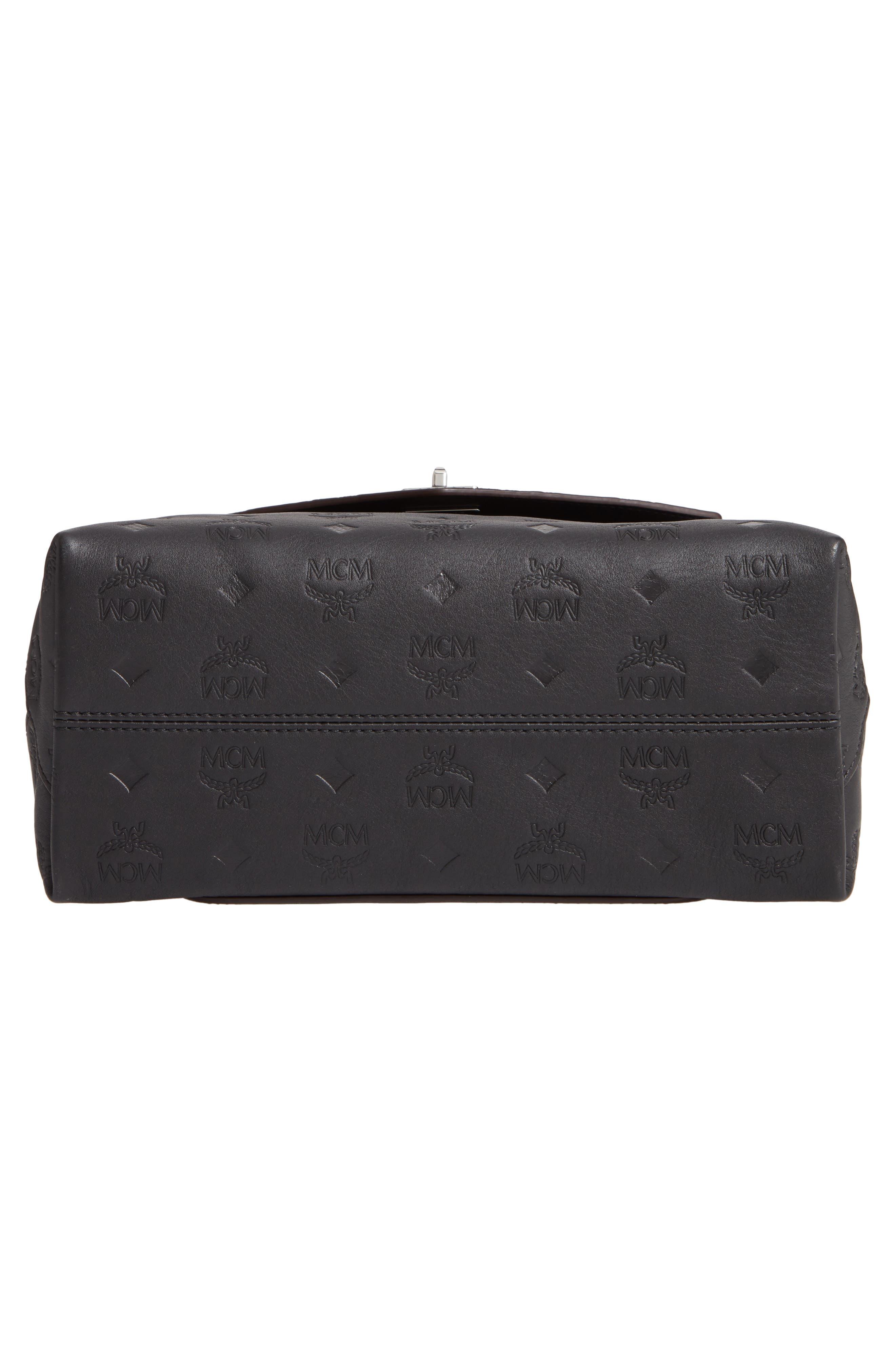 MCM,                             Essentials Monogram Leather Small Crossbody Bag,                             Alternate thumbnail 7, color,                             BLACK