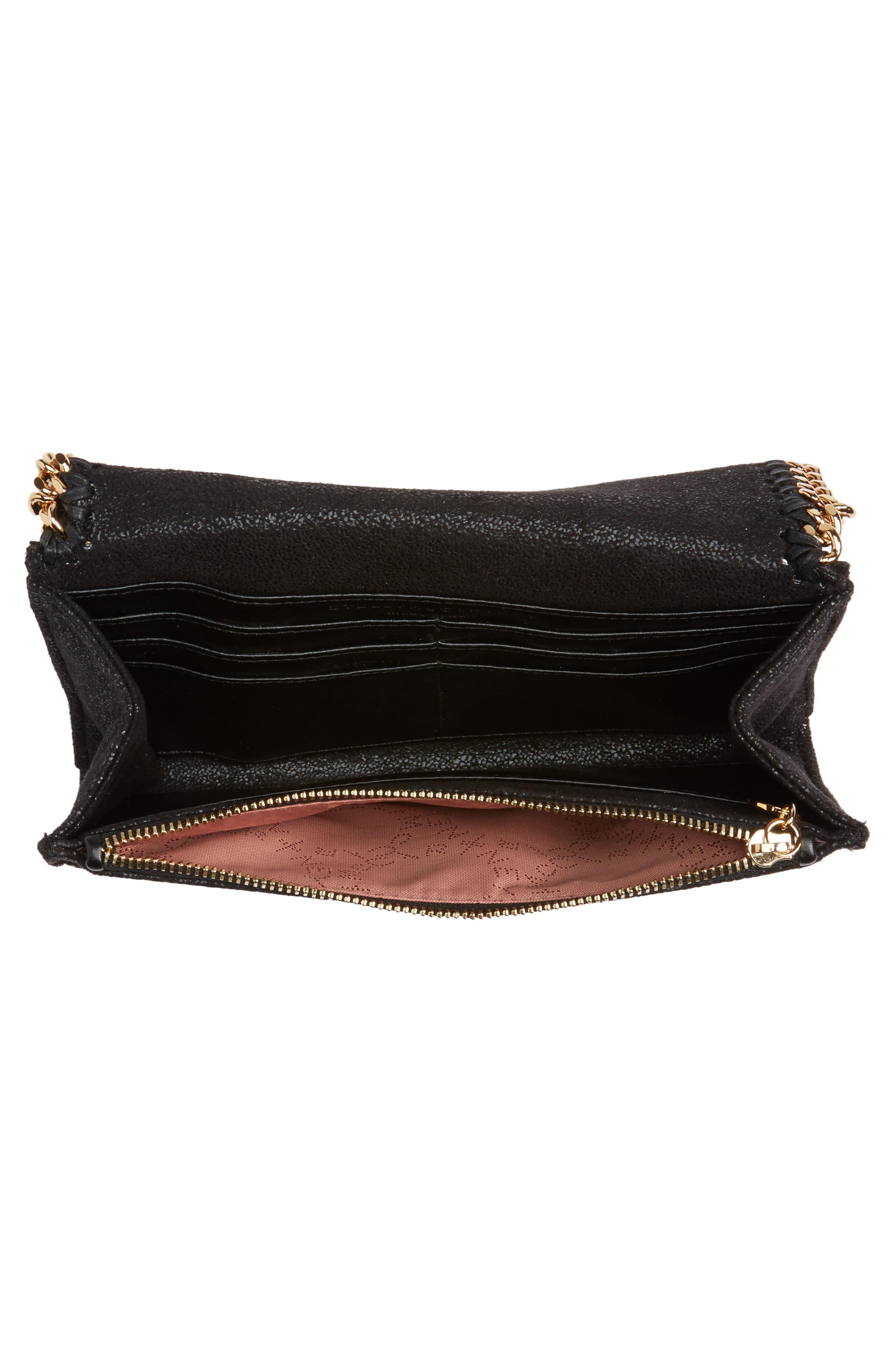 STELLA MCCARTNEY,                             Shaggy Deer Faux Leather Crossbody Bag,                             Alternate thumbnail 4, color,                             BLACK