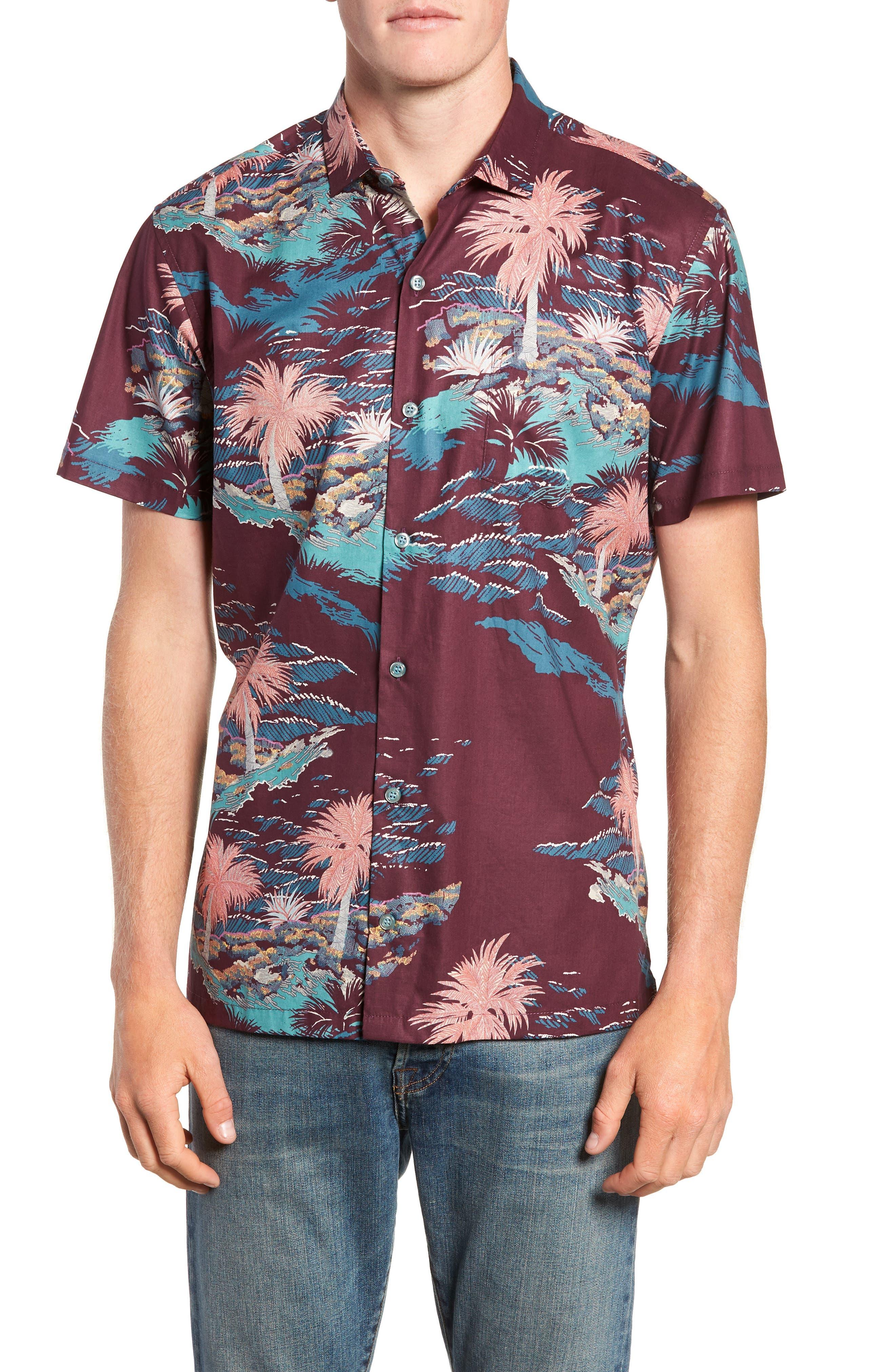 Tori Richard Bonsai Regular Fit Sport Shirt, Red