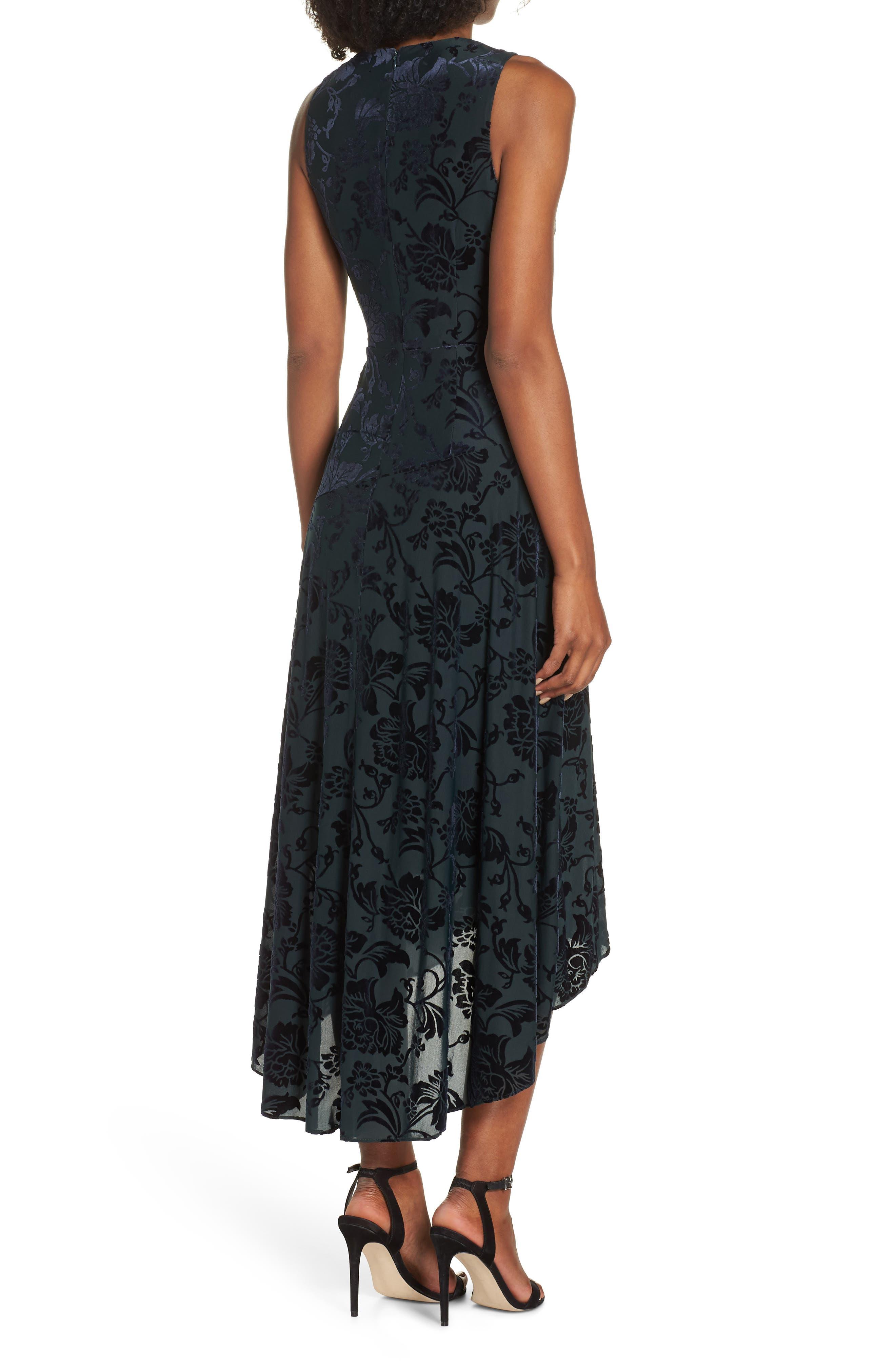Burnout Velvet High/Low Dress,                             Alternate thumbnail 2, color,                             NAVY/ GREEN