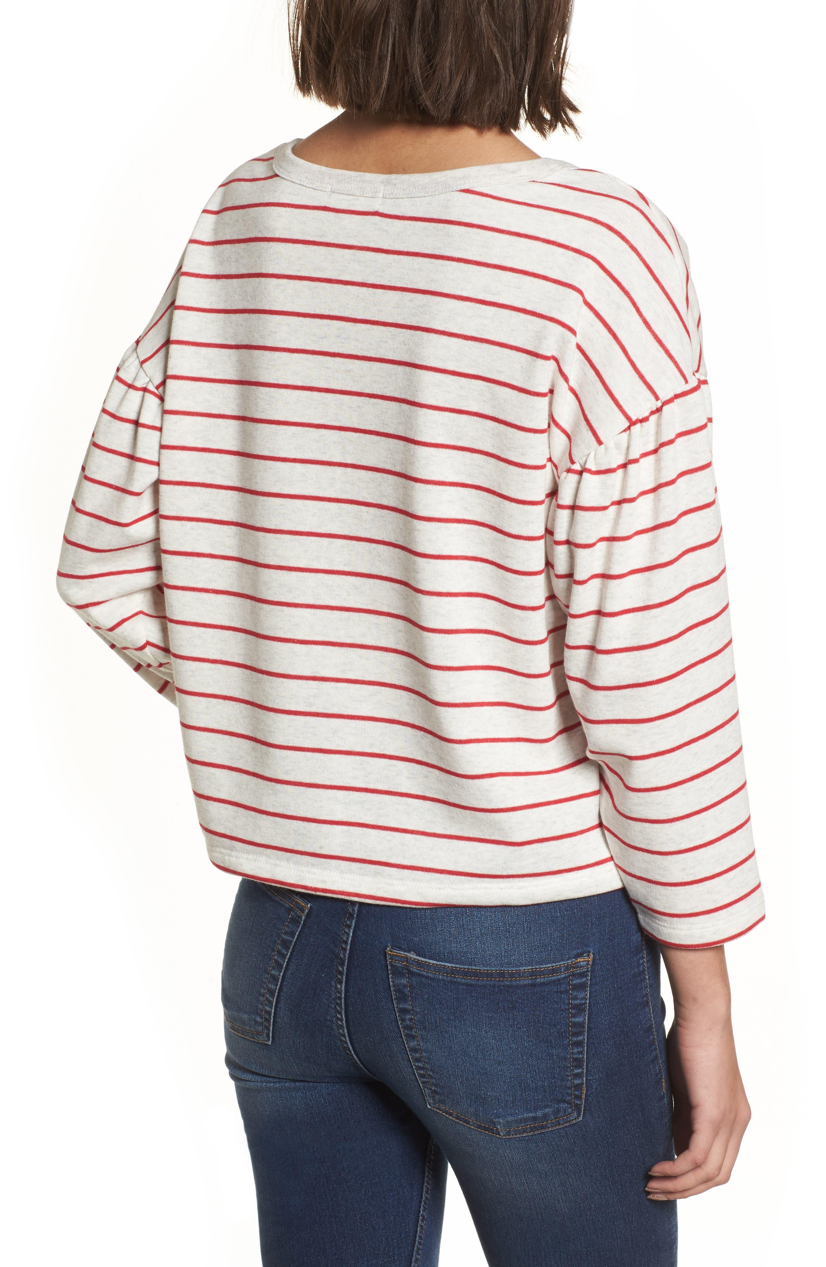 Drop Shoulder Stripe Sweater,                             Alternate thumbnail 4, color,