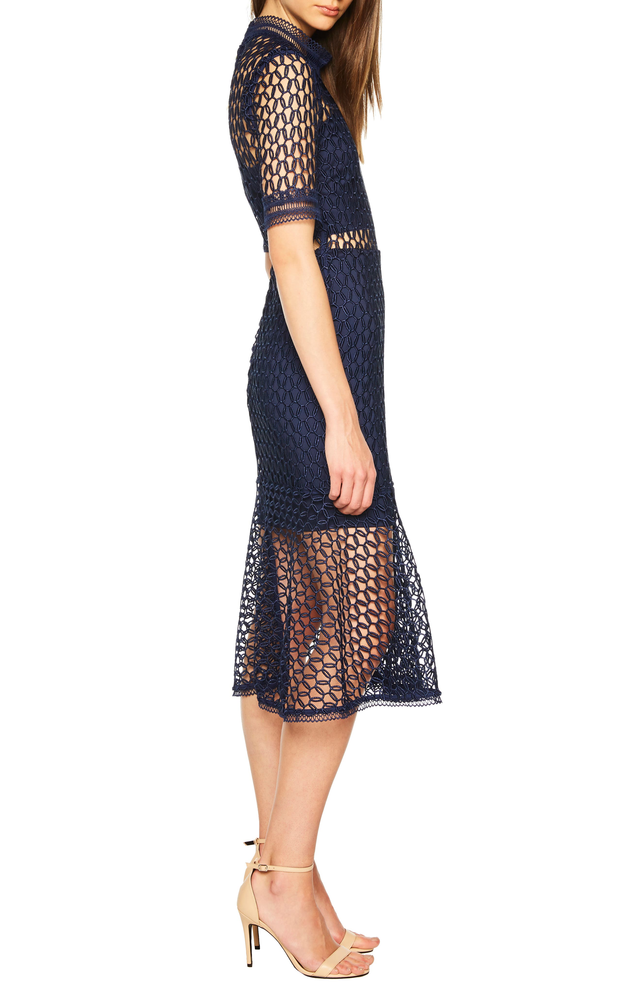Fiona Mesh Lace Trumpet Dress,                             Alternate thumbnail 3, color,                             FRENCH NAVY
