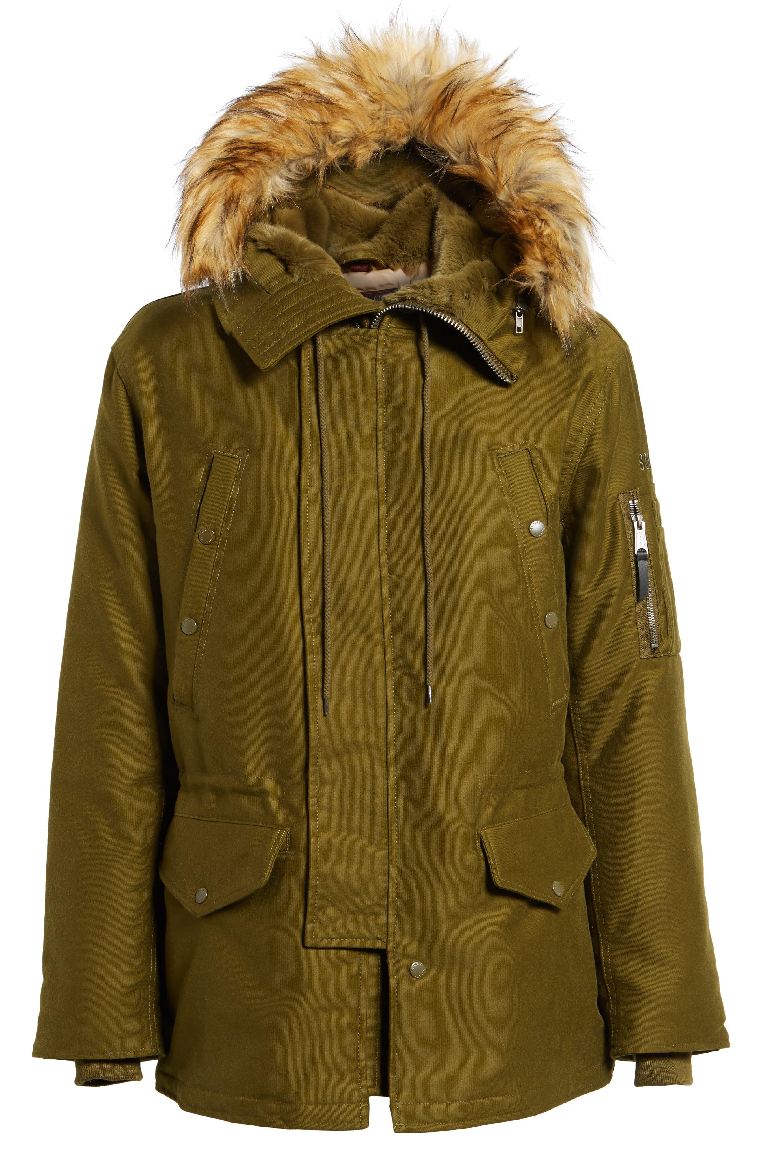 Bedford Corduroy Goose Down Jacket with Faux Fur Trim,                             Alternate thumbnail 5, color,                             352