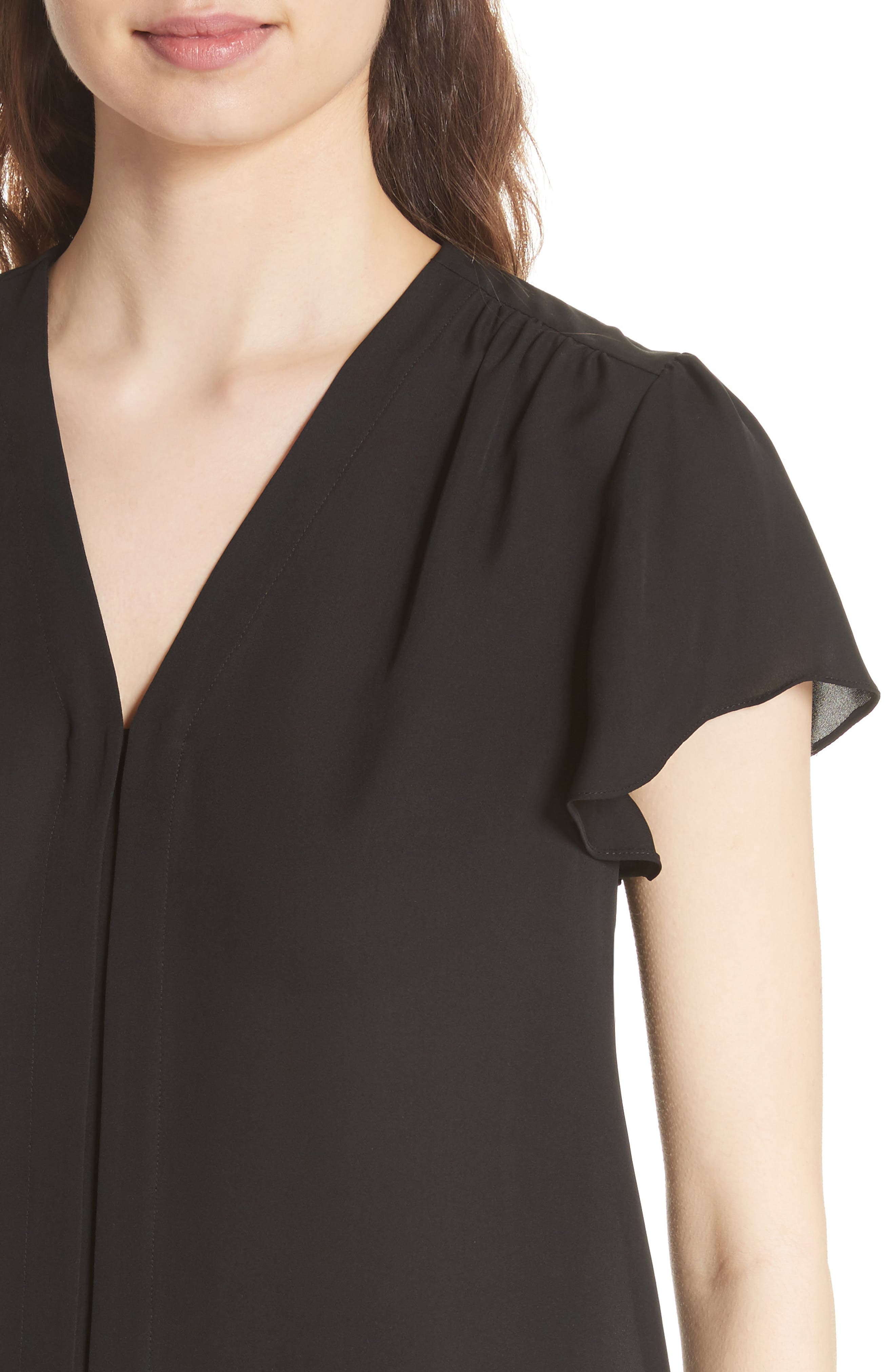 Celina Silk Top,                             Alternate thumbnail 4, color,                             BLACK
