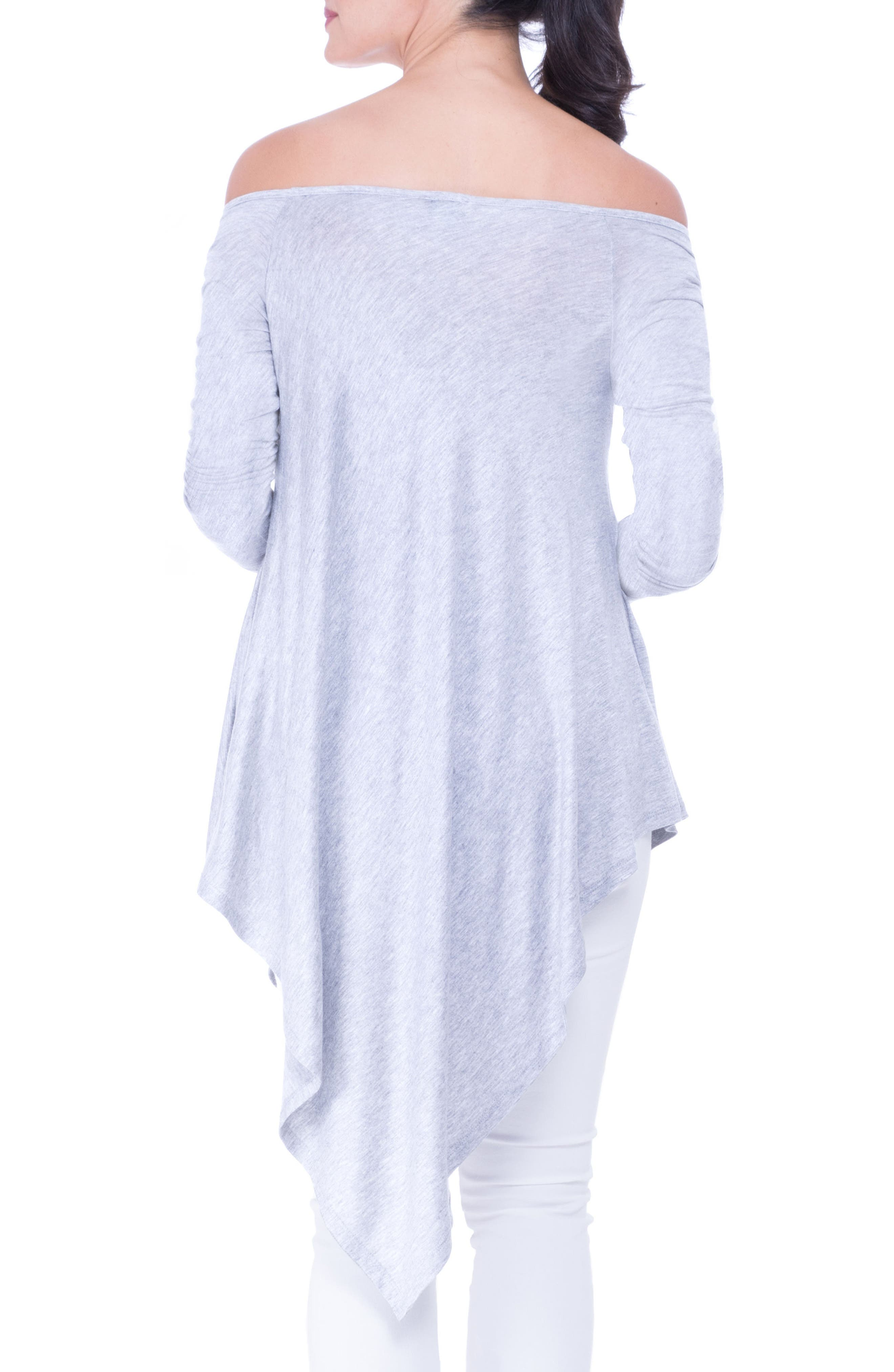 Off the Shoulder Maternity Tunic,                             Alternate thumbnail 2, color,                             HEATHER GREY