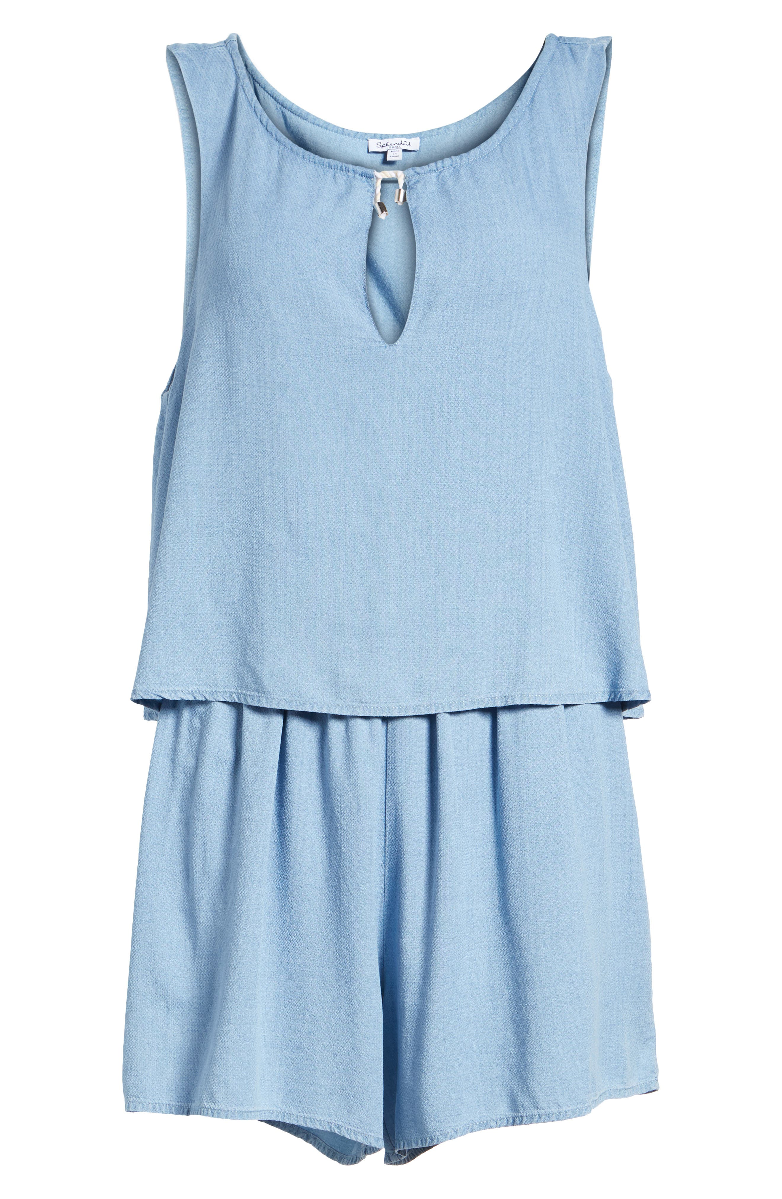 Chambray Romper,                             Alternate thumbnail 6, color,                             400