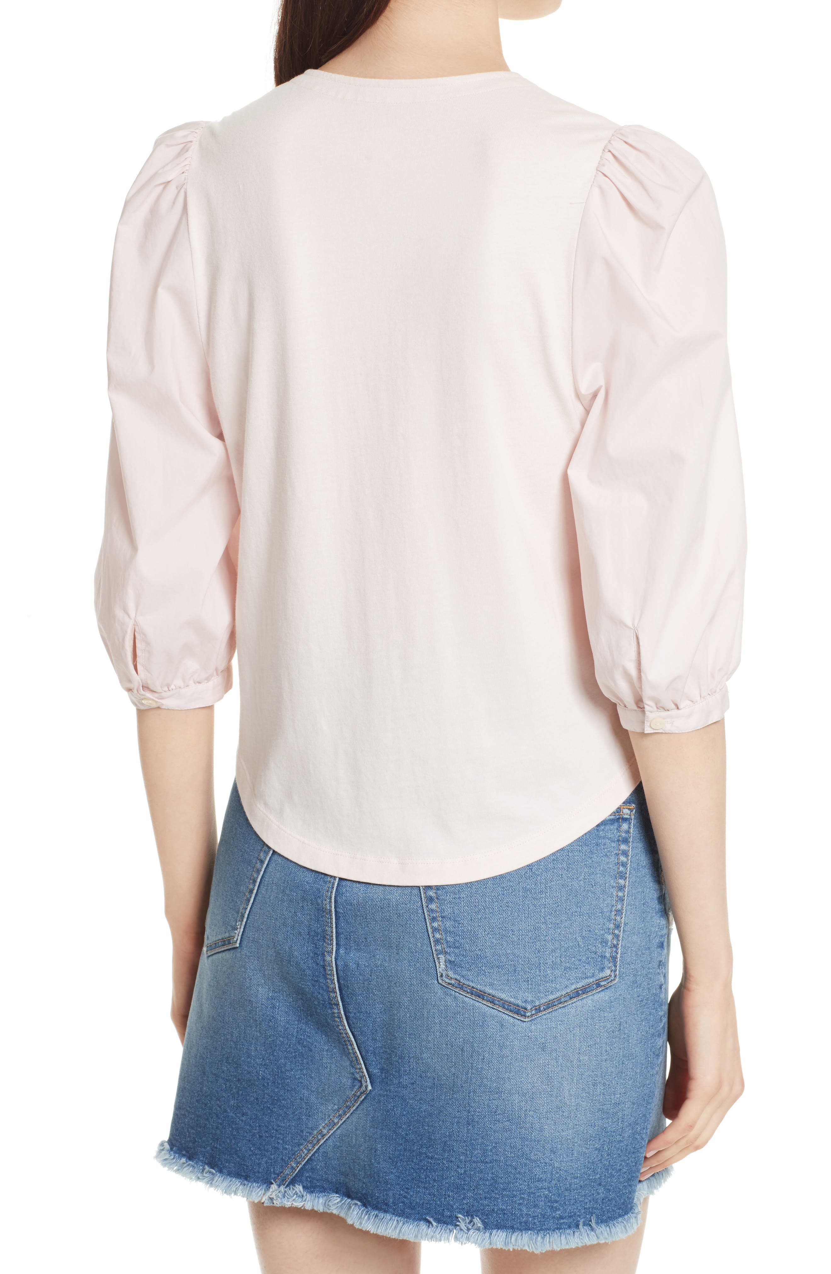 Poplin Sleeve Jersey Top,                             Alternate thumbnail 2, color,                             659