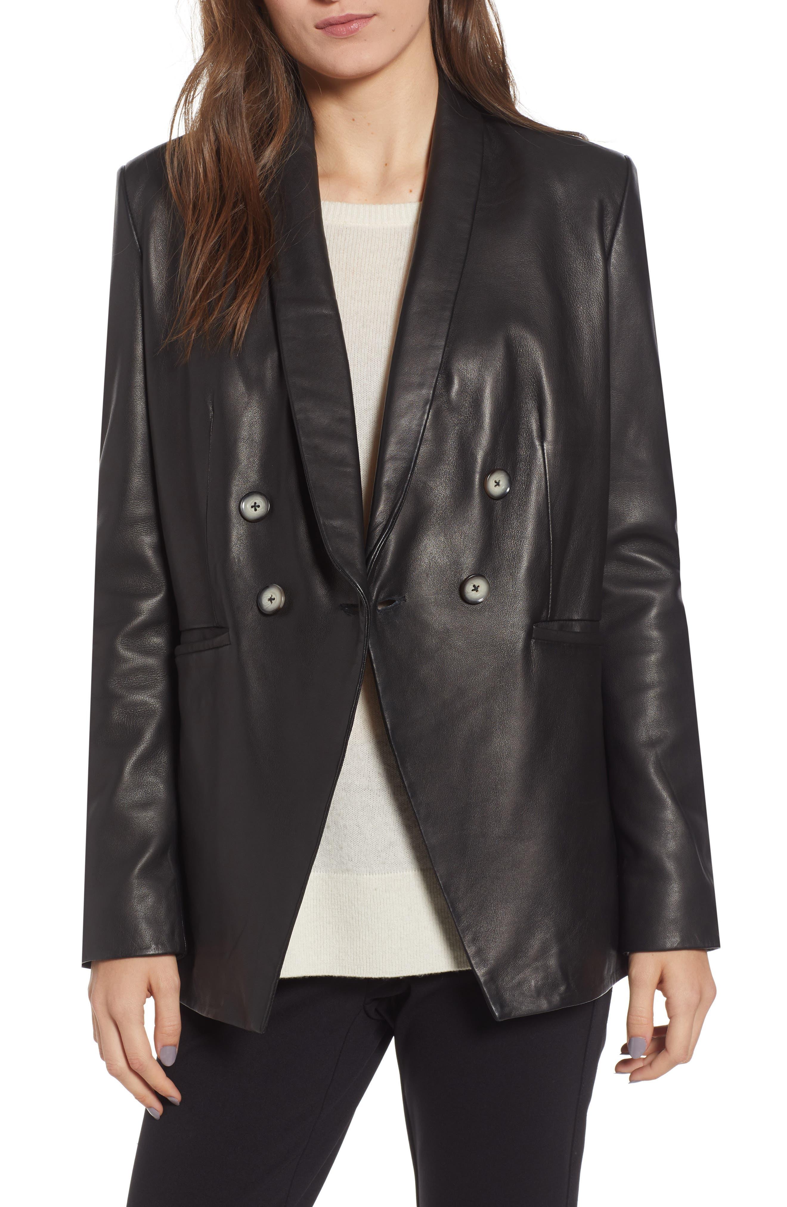 LAMARQUE Semi Fitted Leather Blazer in Black