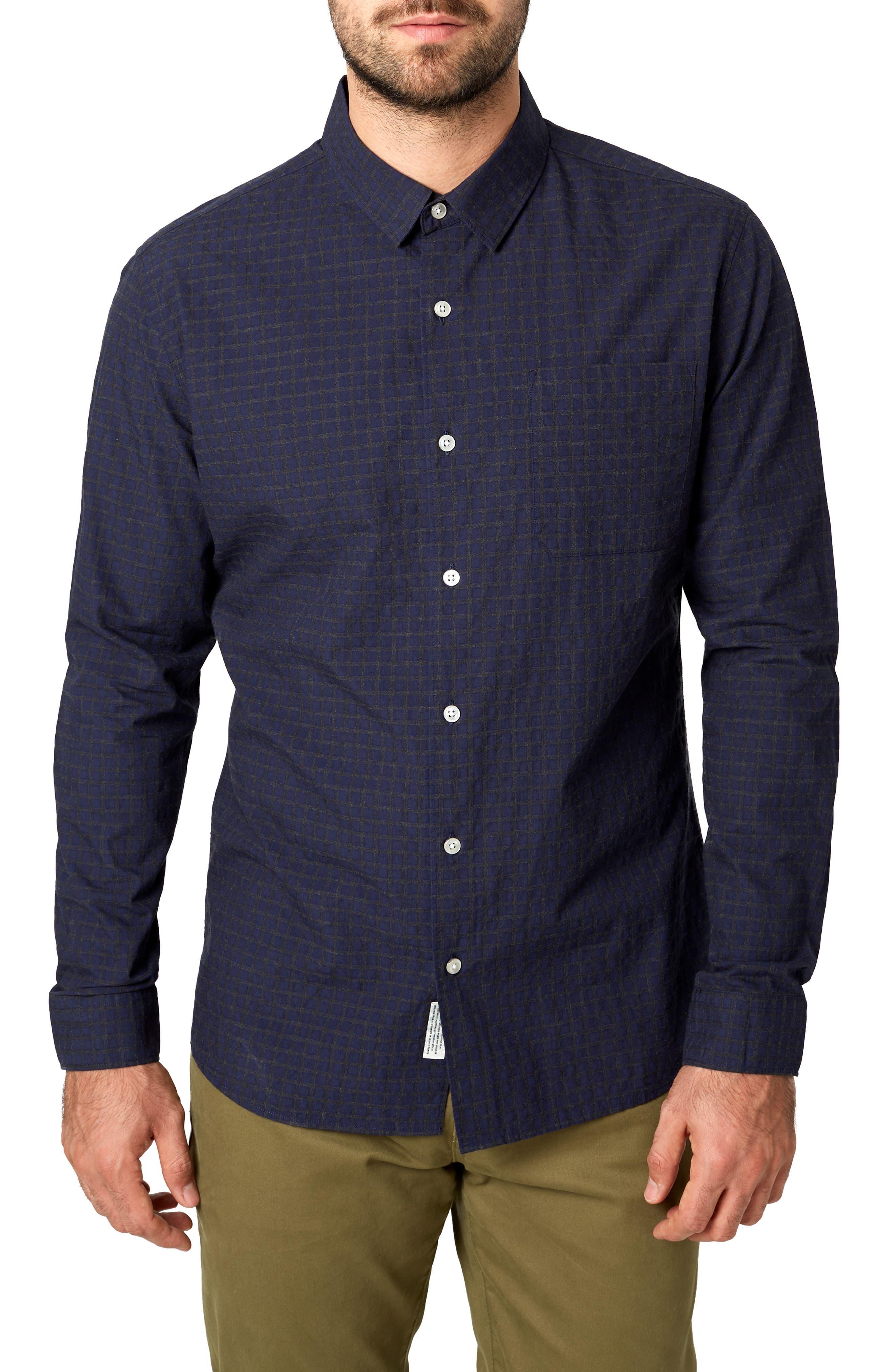 Players Club Trim Fit Linen Blend Sport Shirt,                         Main,                         color, MIDNIGHT