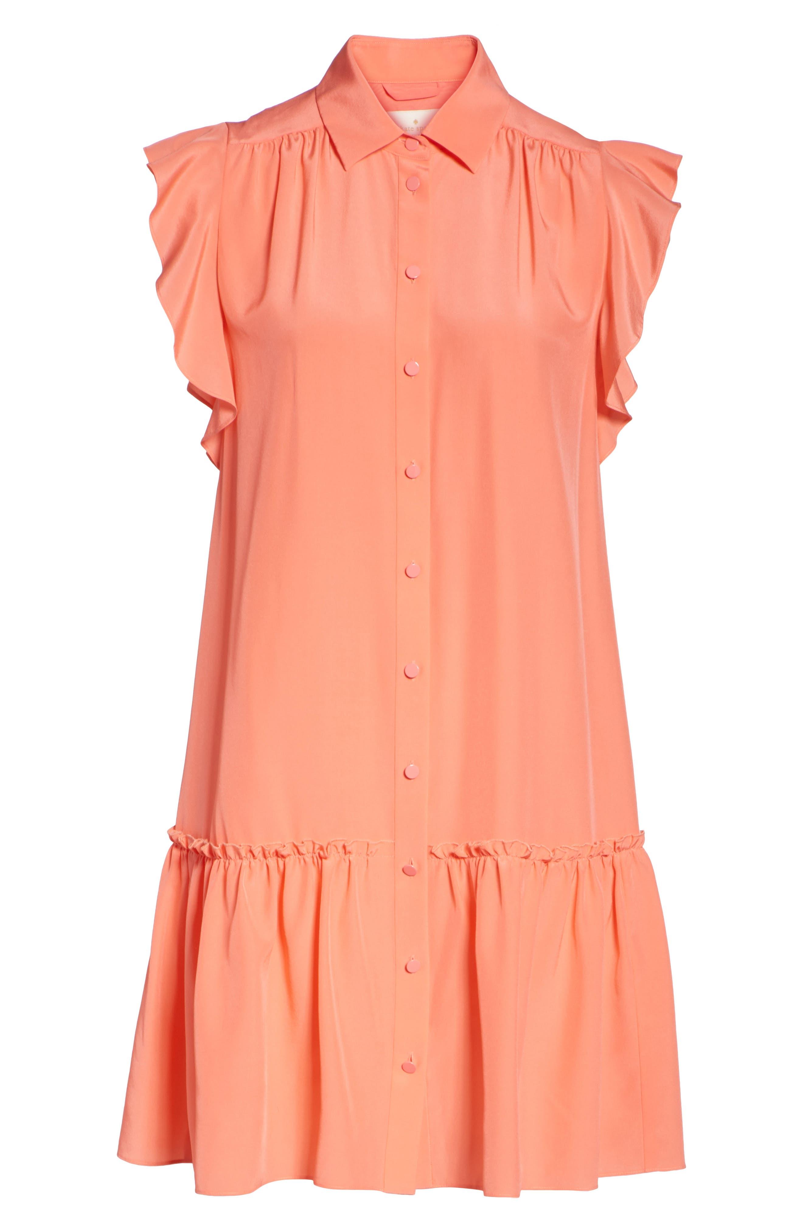 drop waist silk dress,                             Alternate thumbnail 7, color,                             APRICOT SORBET