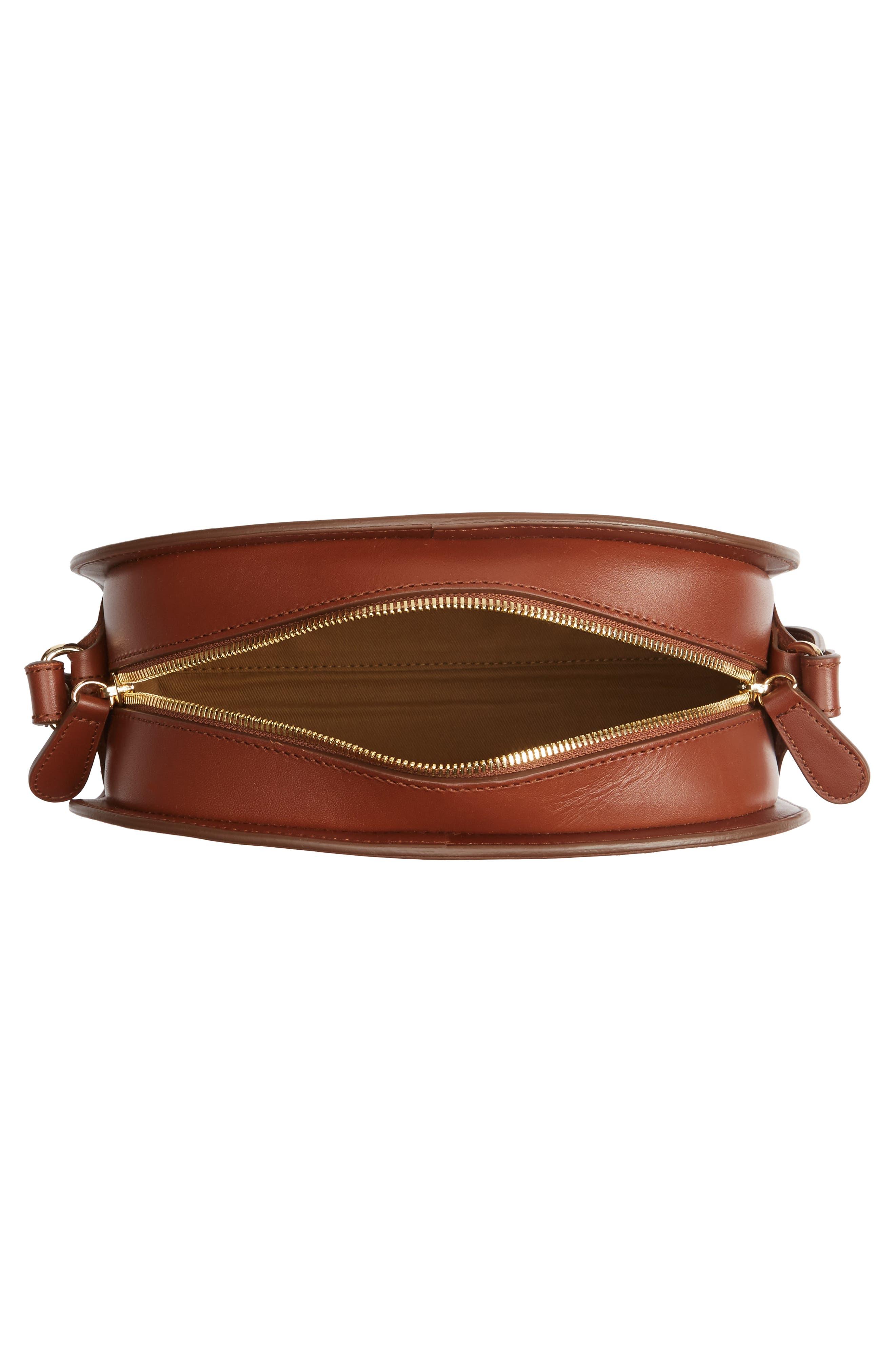 'Sac Demi Lune' Leather Crossbody Bag,                             Alternate thumbnail 4, color,                             NOISETTE