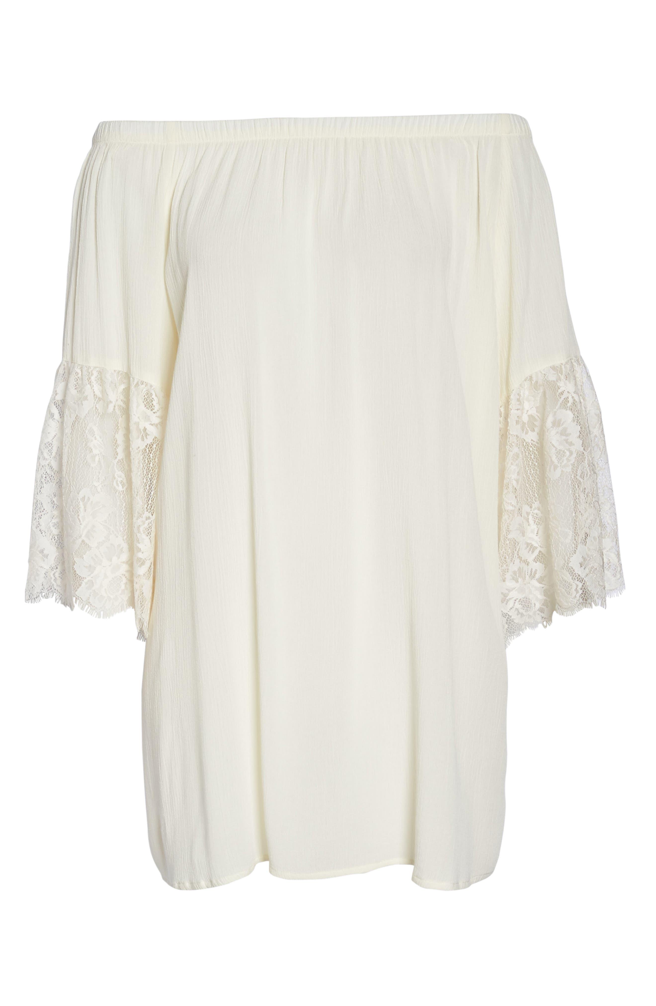 Off the Shoulder Cover-Up Dress,                             Alternate thumbnail 6, color,                             001