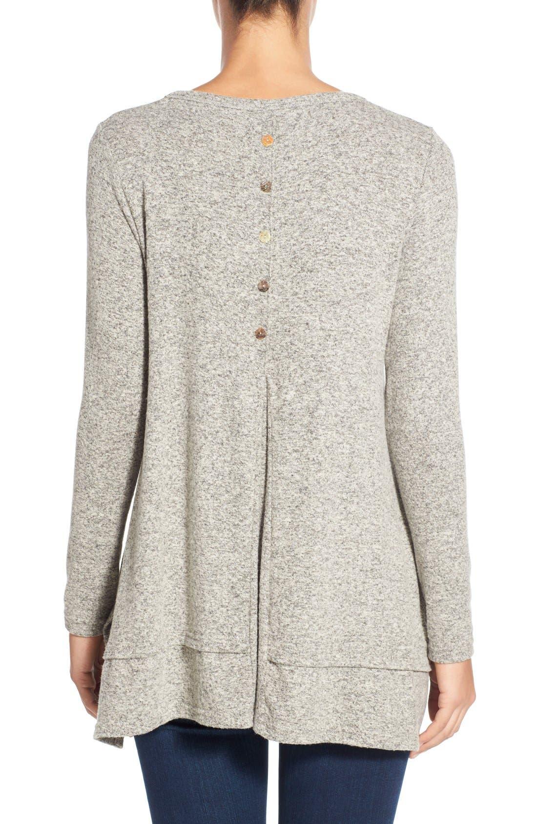 Button Back Fuzzy Fleece Tunic,                             Alternate thumbnail 4, color,                             035