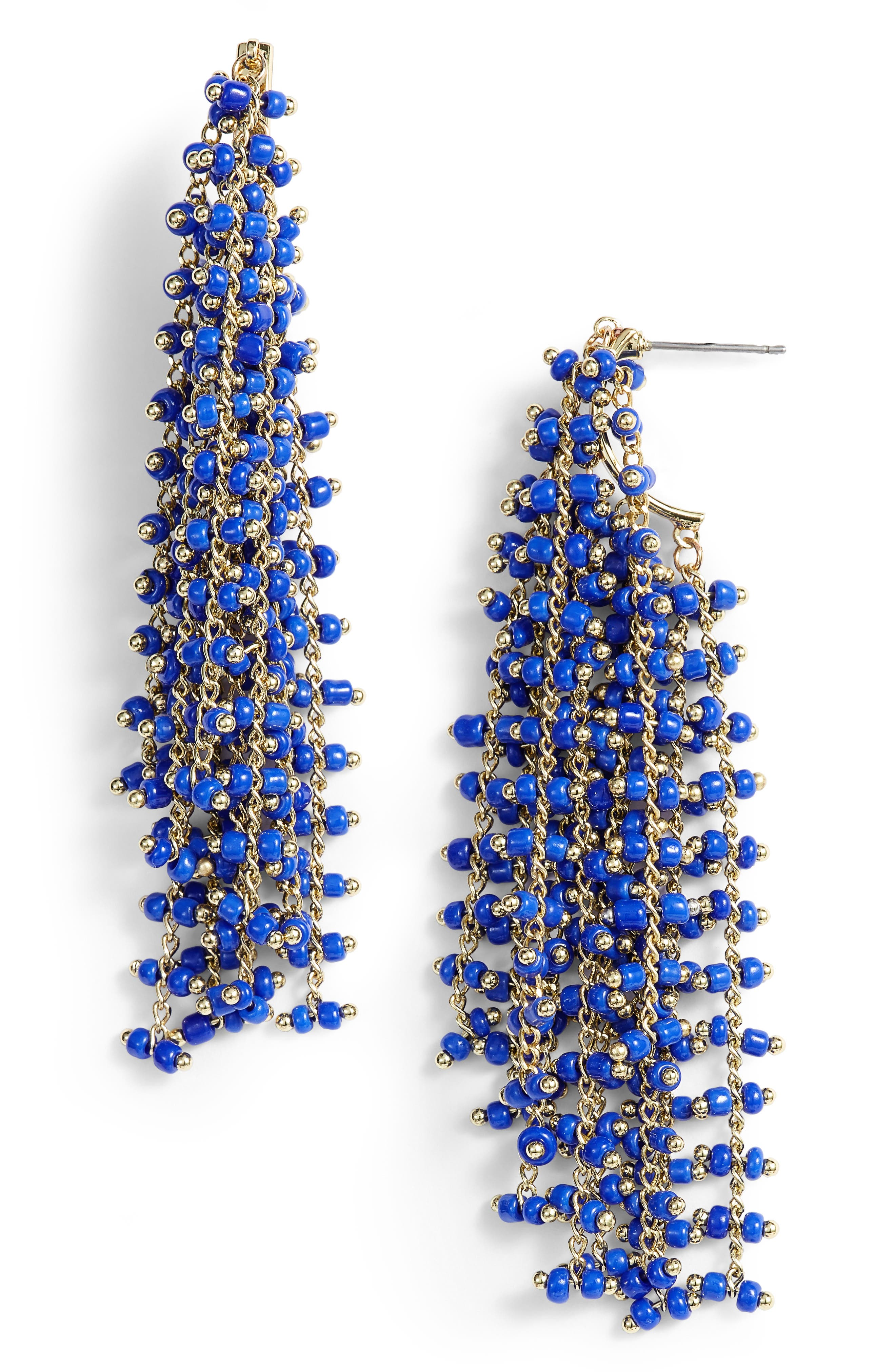 Beaded Fringe Earrings,                             Main thumbnail 1, color,                             400