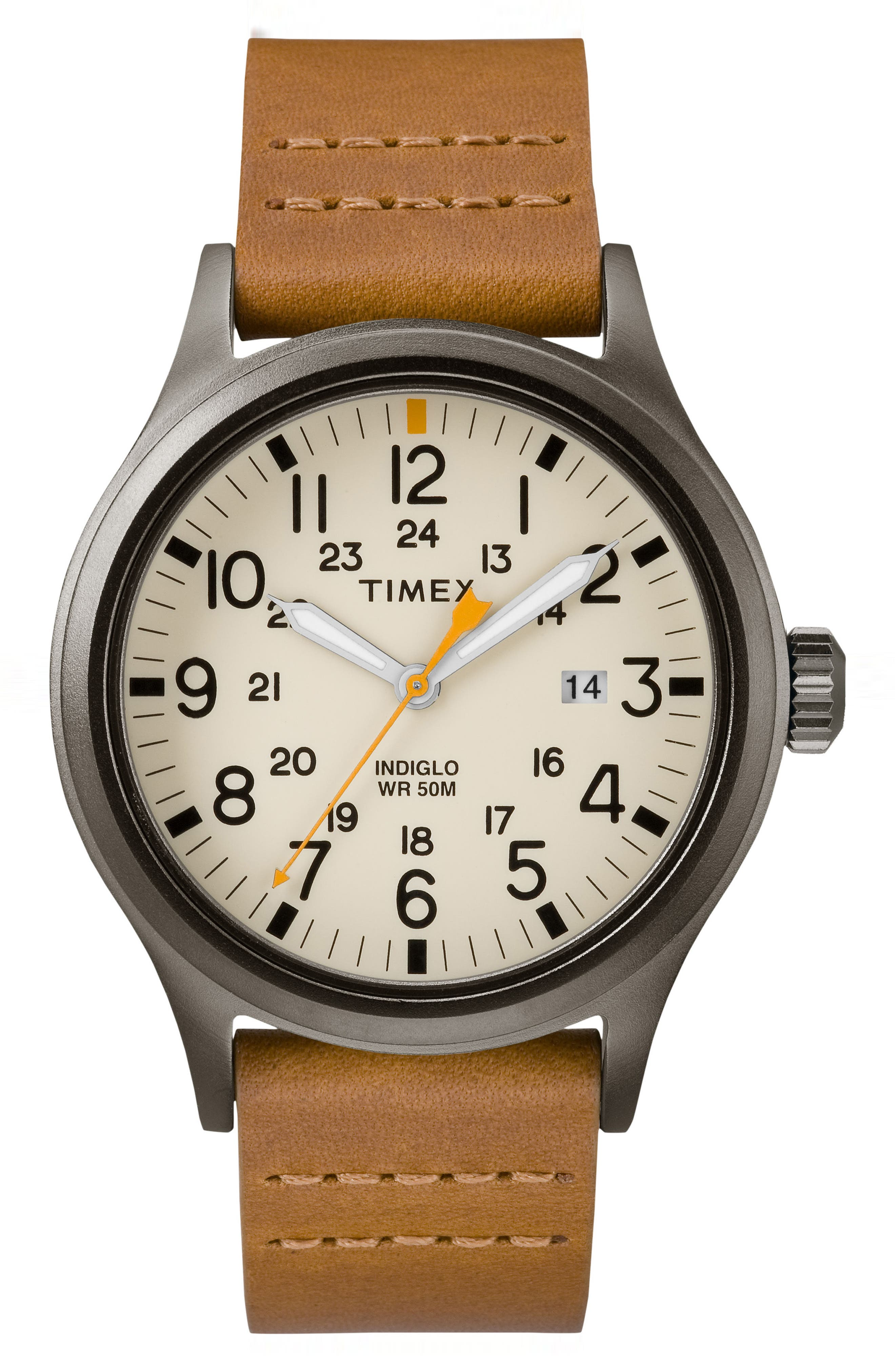 Allied Leather Strap Watch, 40mm,                             Main thumbnail 1, color,                             BROWN/ NATURAL/ GREY