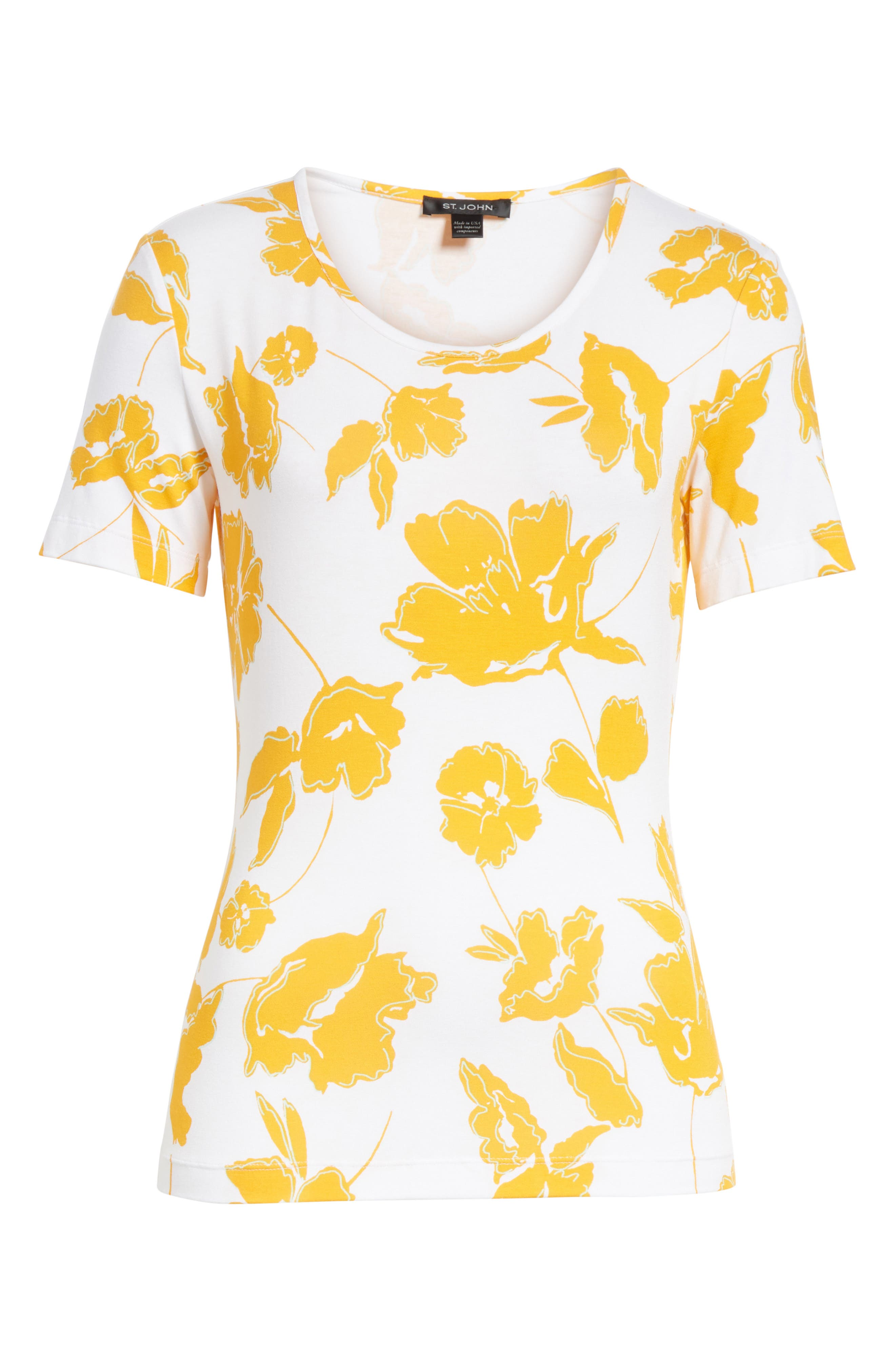 Painted Floral Jersey Tee,                             Alternate thumbnail 6, color,                             MANGO MULTI