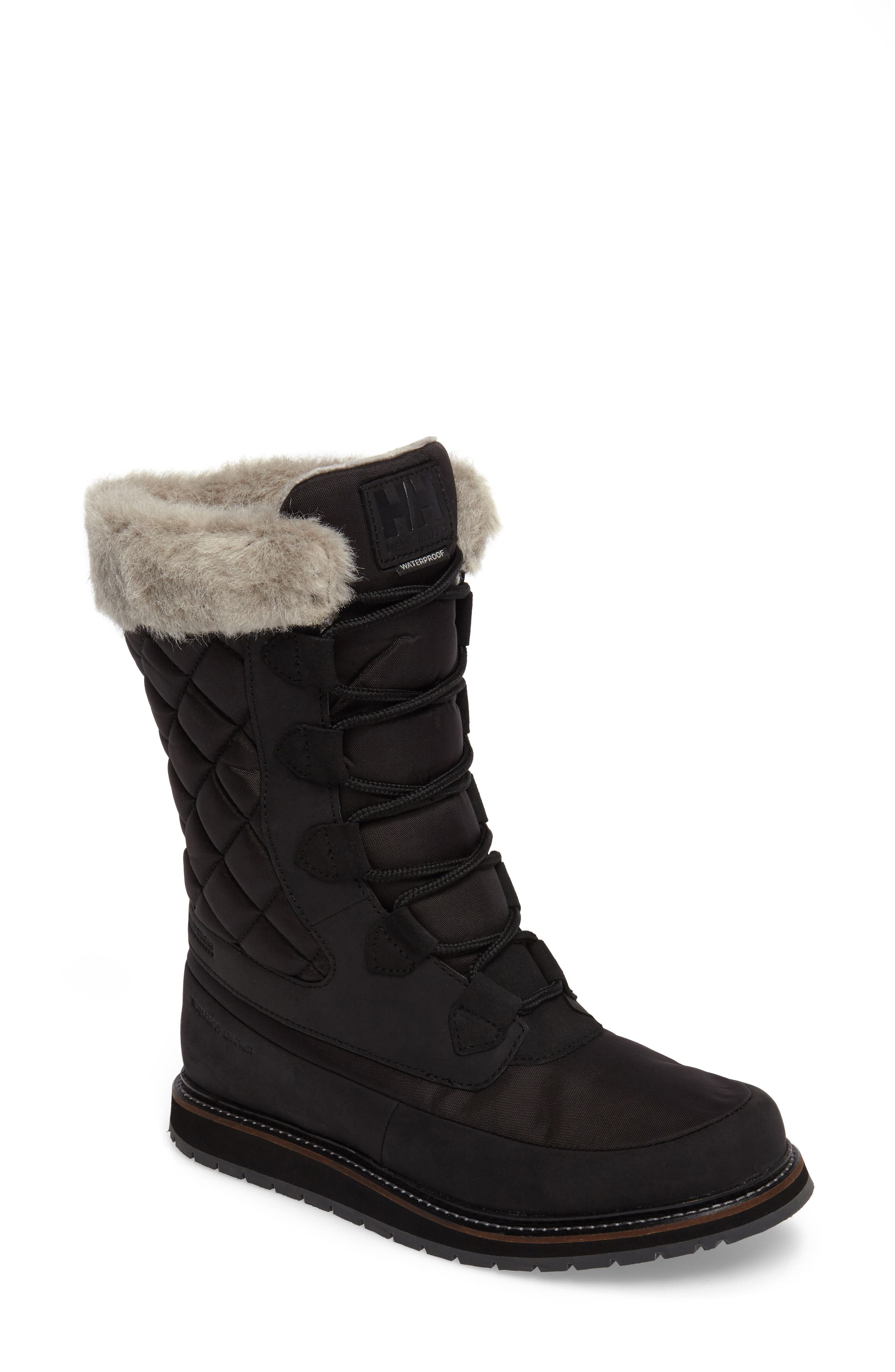 Arosa Waterproof Boot with Faux Fur Trim,                             Main thumbnail 1, color,                             001