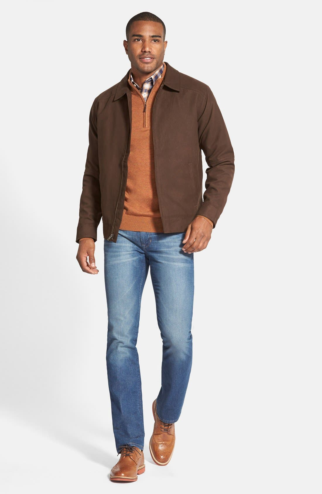 'Roosevelt' Classic Fit Water Resistant Full Zip Jacket,                             Alternate thumbnail 4, color,                             BITTERSWEET BROWN