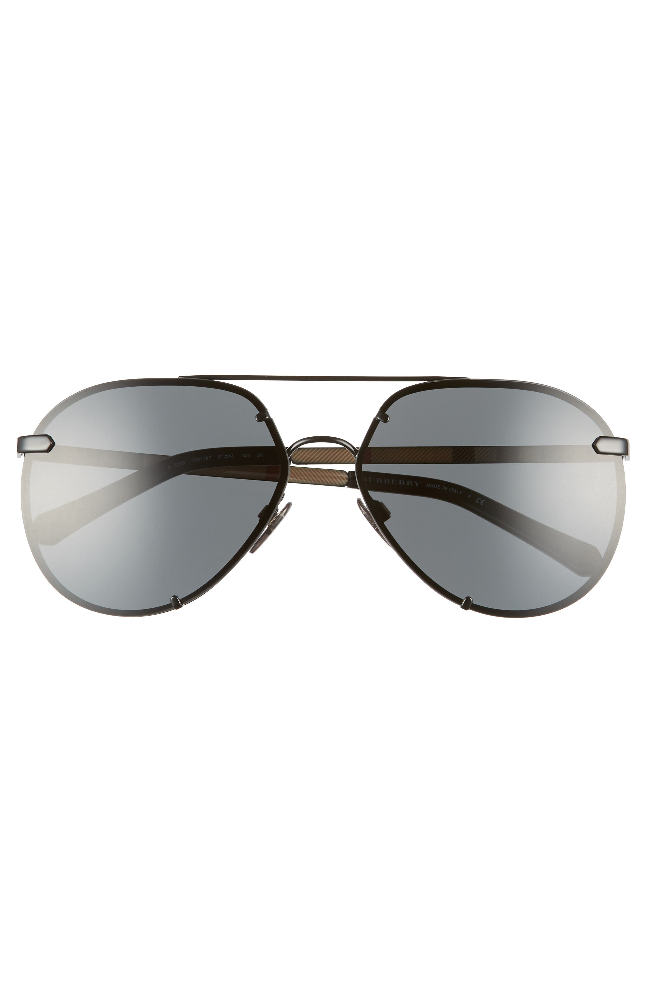 Trench 61mm Aviator Sunglasses,                             Alternate thumbnail 3, color,                             BLACK SOLID