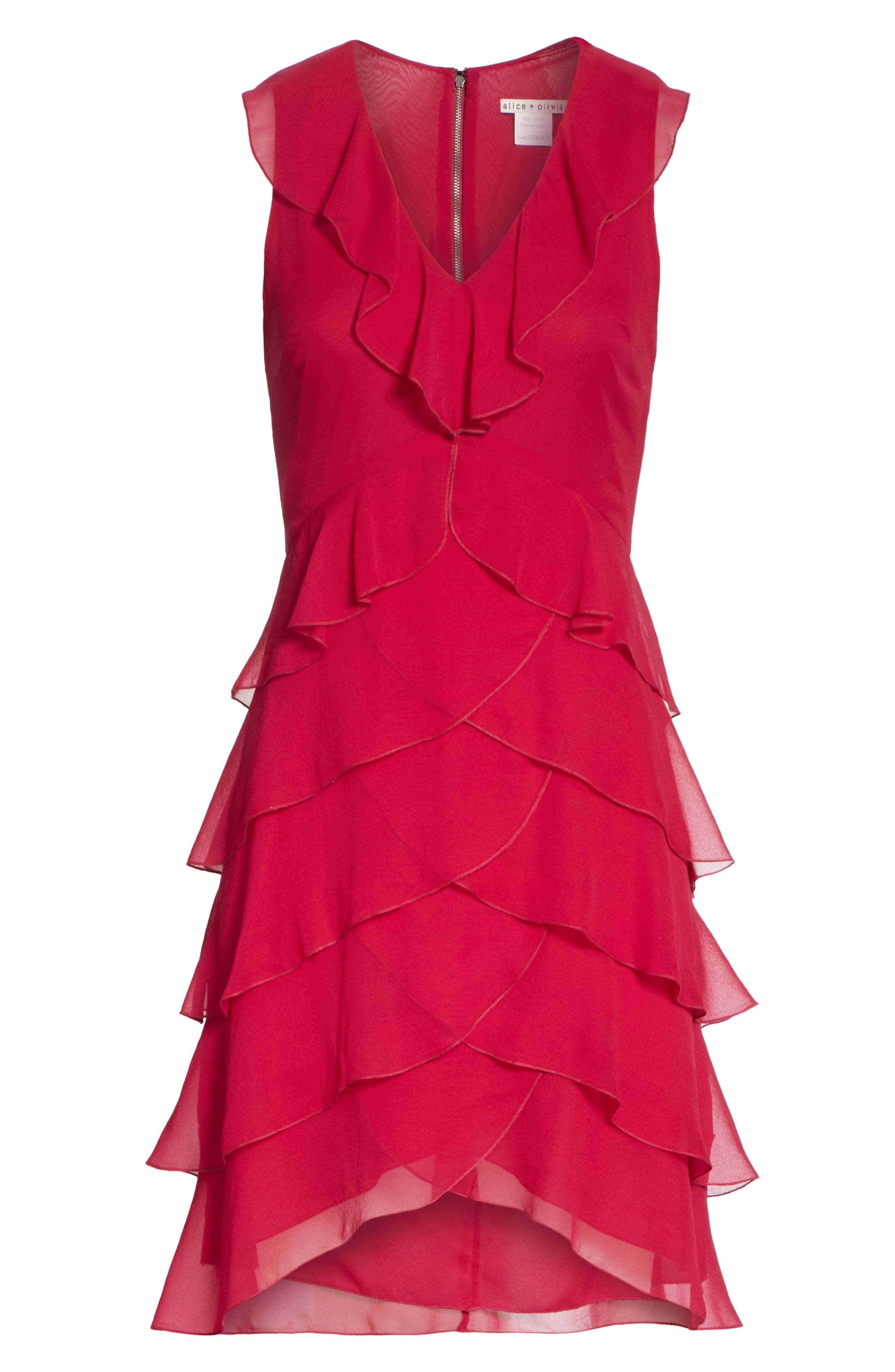 ALICE + OLIVIA,                             Felicita Ruffle Silk Dress,                             Alternate thumbnail 6, color,                             601