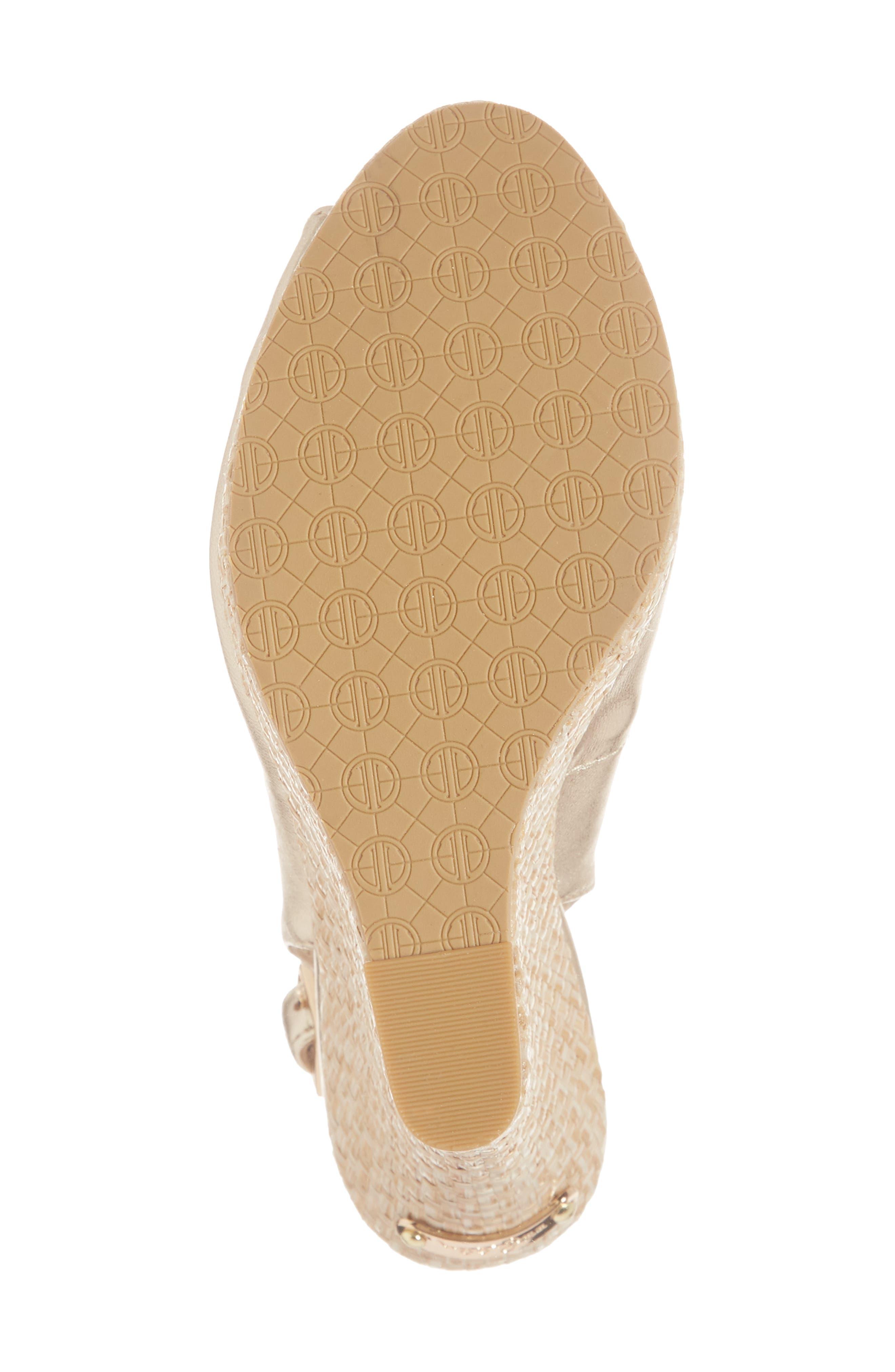 Kristin Slingback Wedge Sandal,                             Alternate thumbnail 6, color,                             GOLD METALLIC LEATHER