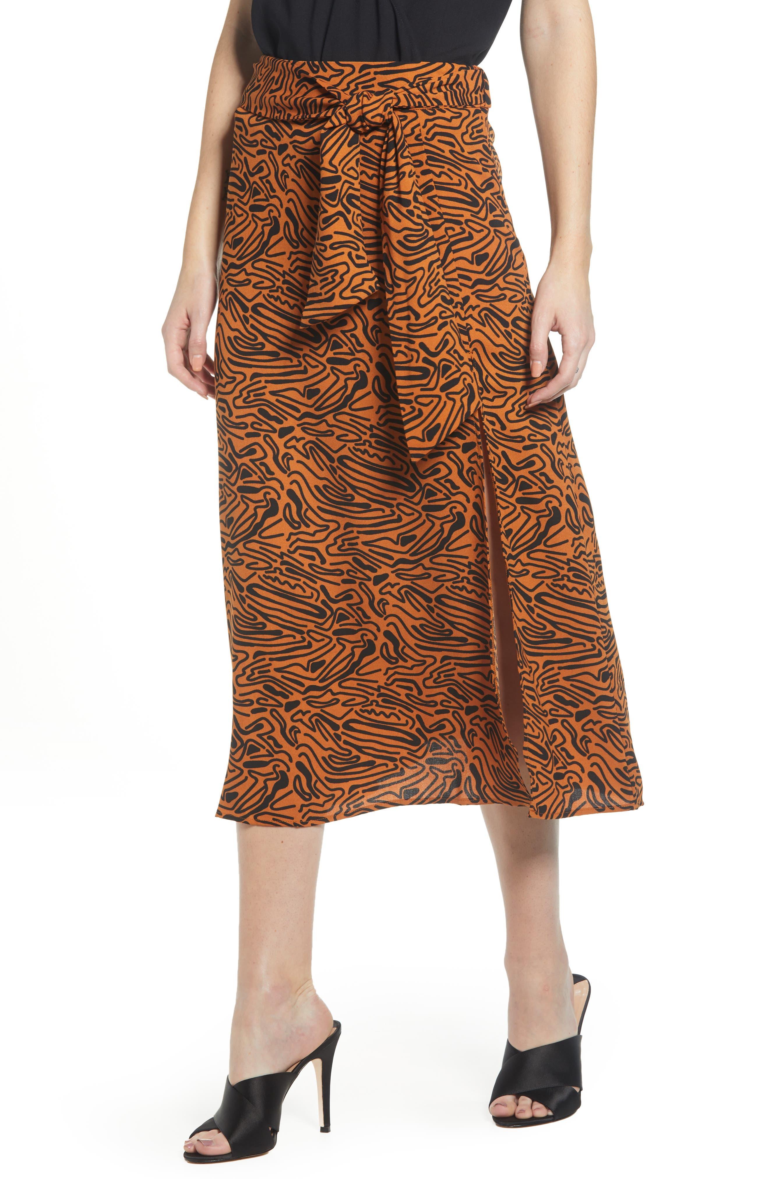 Vero Moda Pattern Midi Skirt, Brown