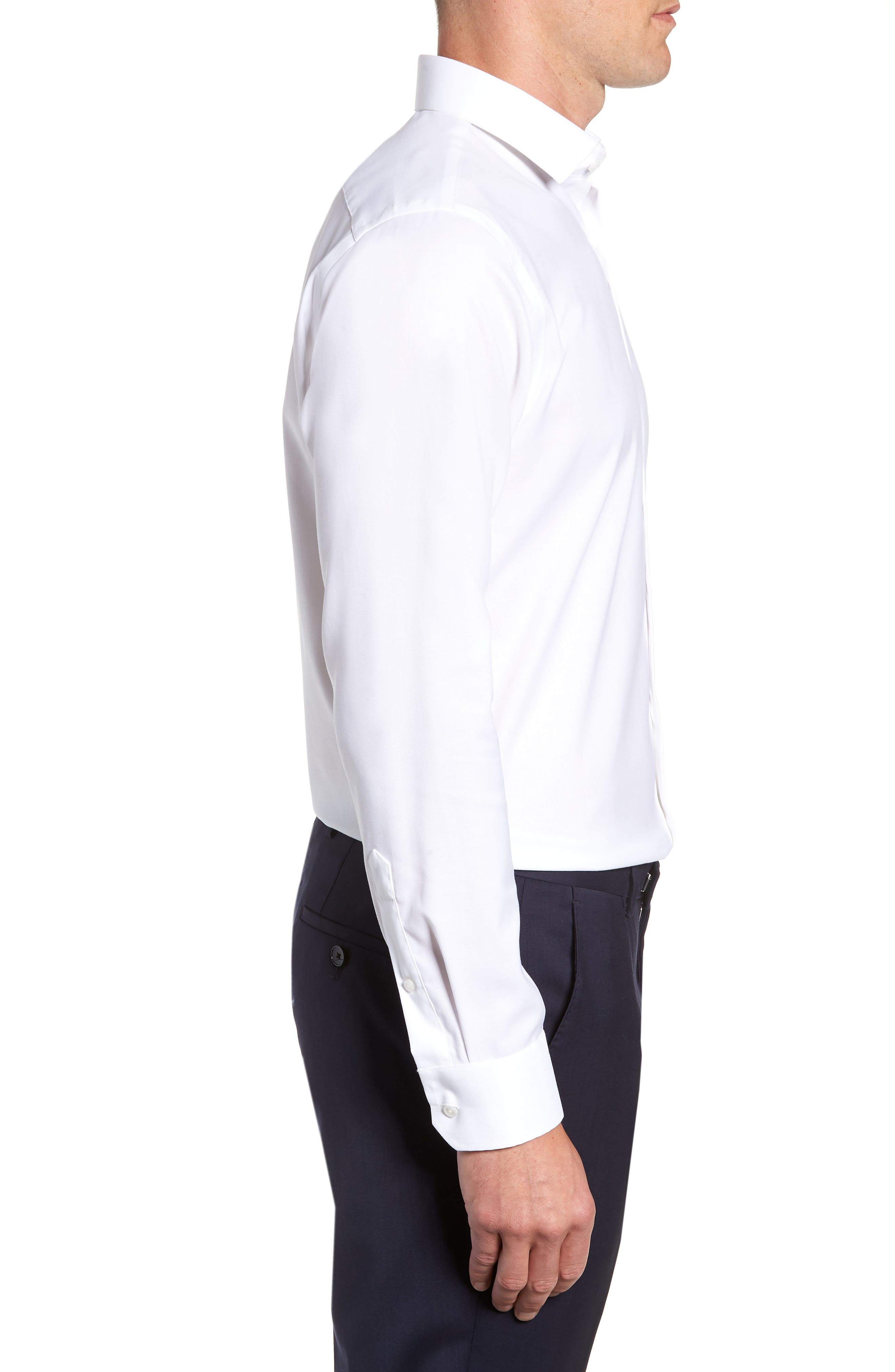 Trim Fit Stretch No-Iron Solid Dress Shirt,                             Alternate thumbnail 4, color,                             WHITE