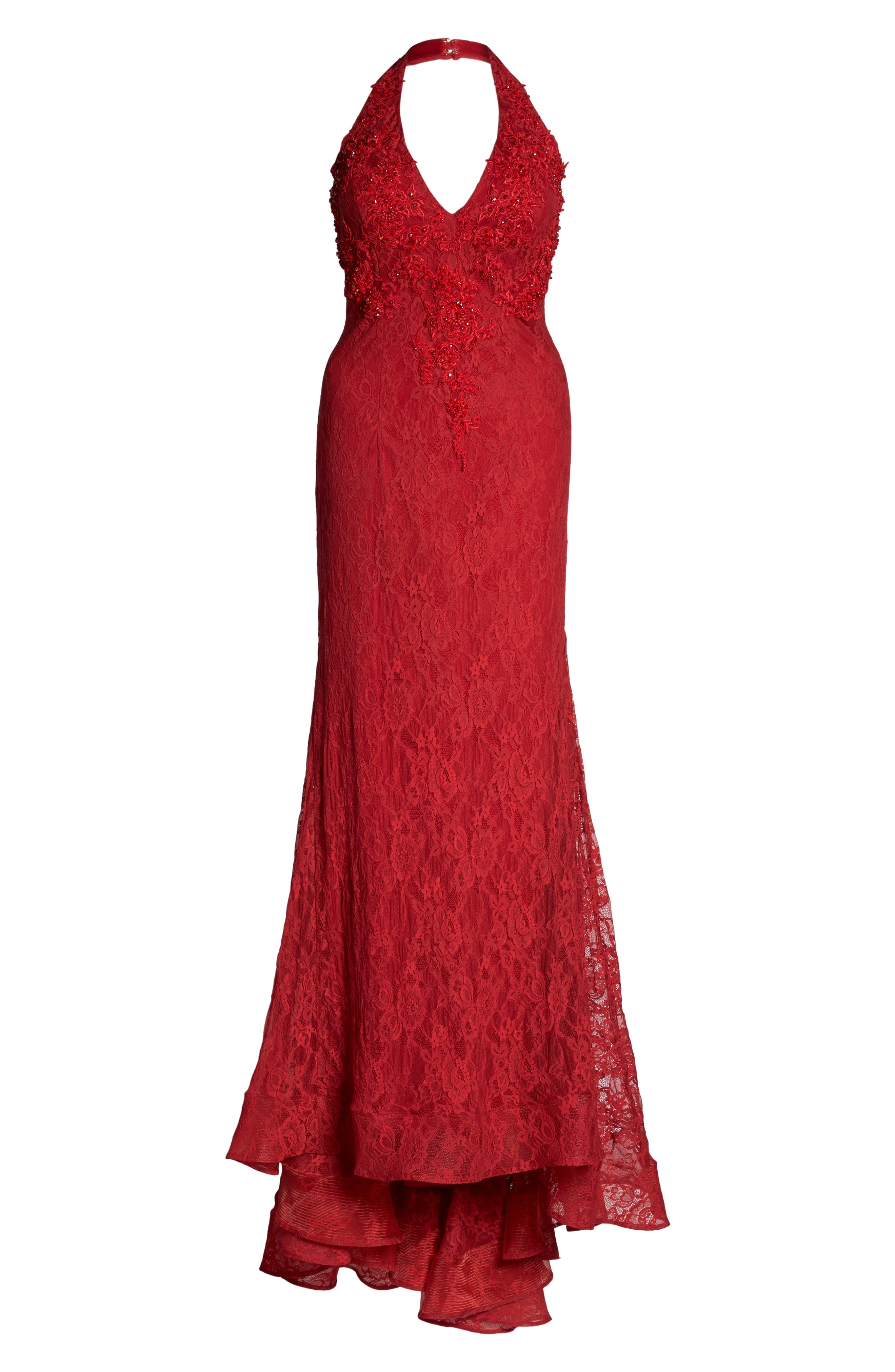MacDuggal Lace Halter Dress,                             Alternate thumbnail 6, color,