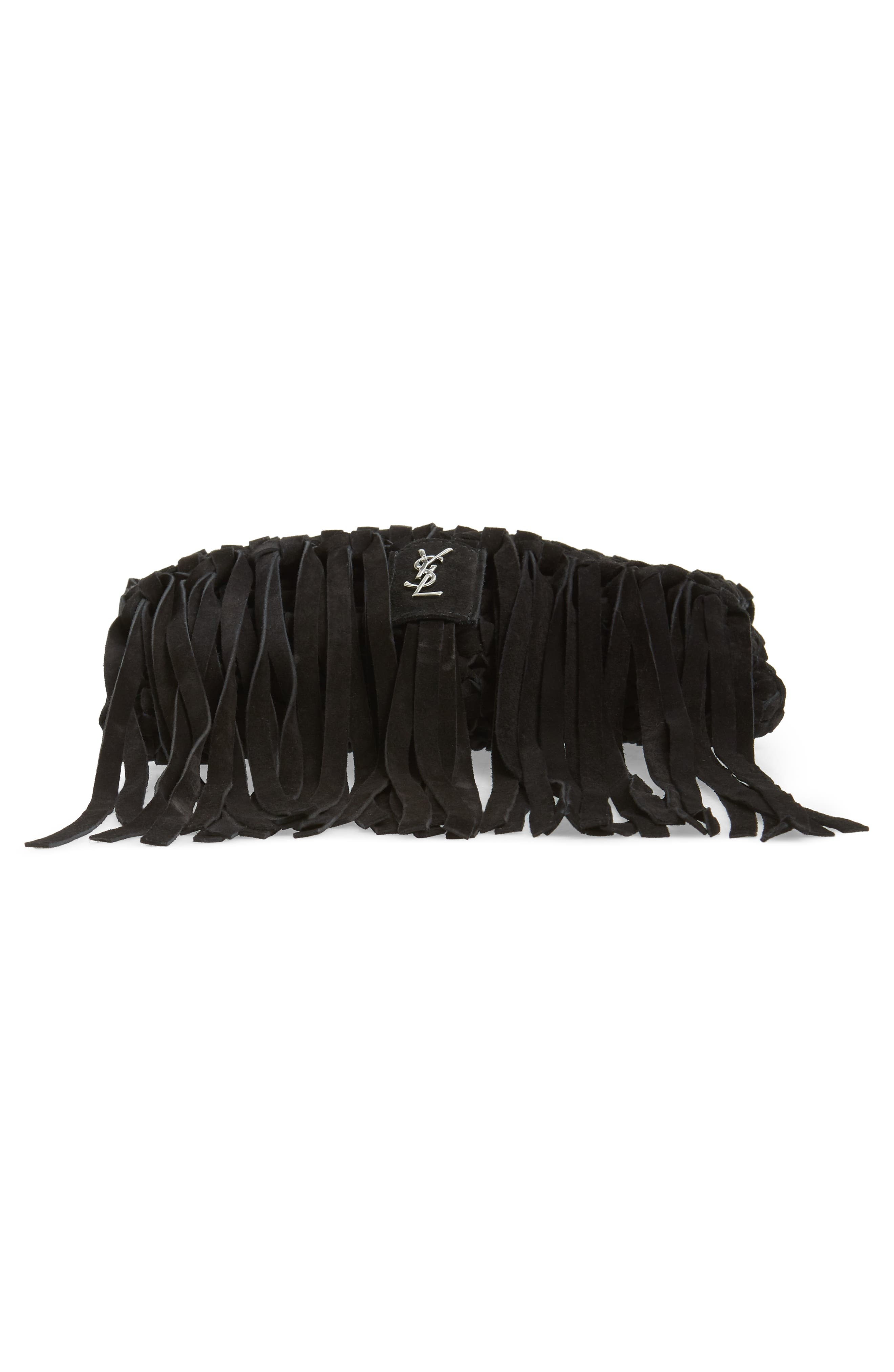 Fringed Leather Clutch,                             Alternate thumbnail 7, color,                             NERO