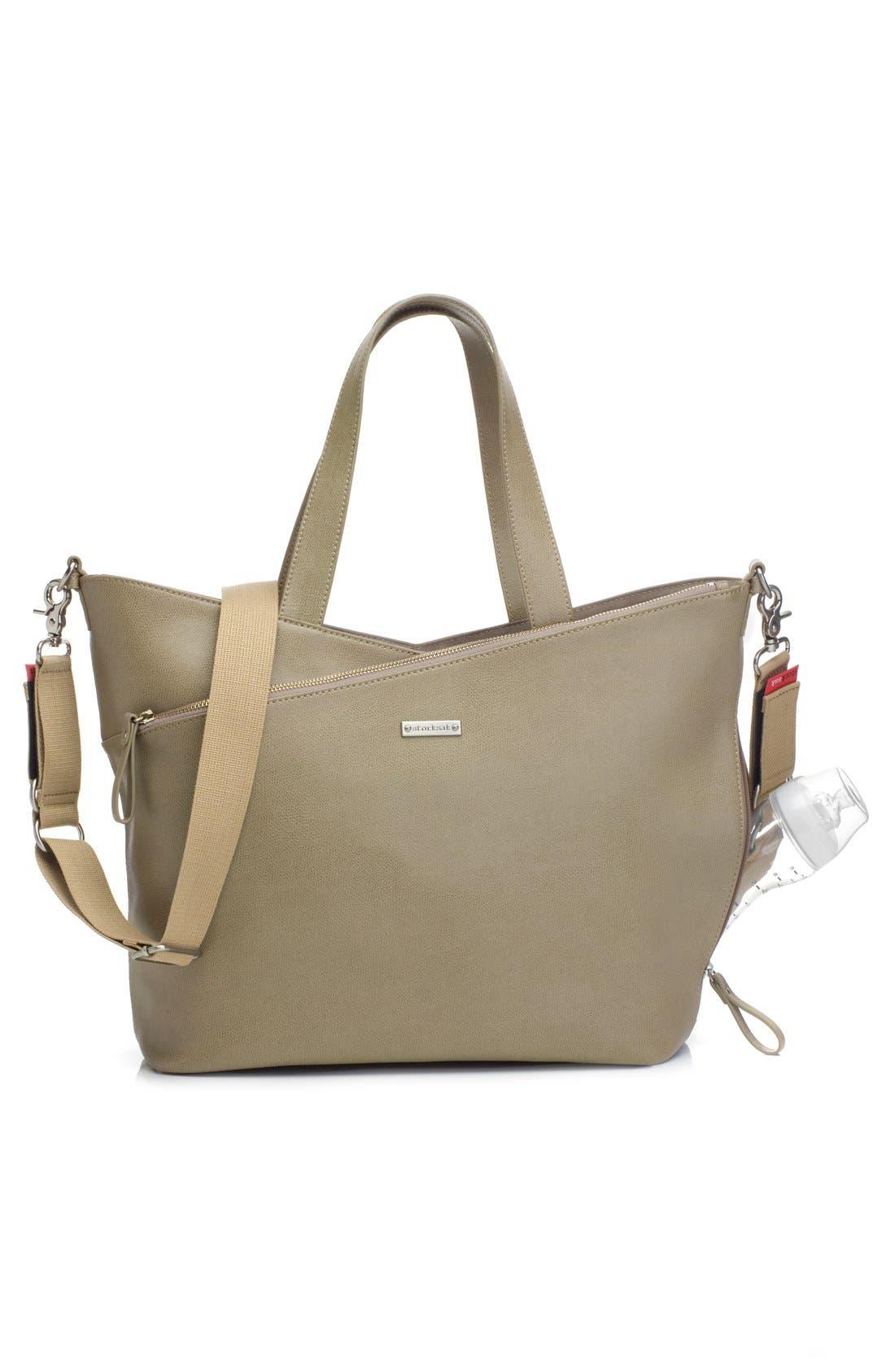 'Lucinda' Diaper Bag Leather Tote,                             Alternate thumbnail 5, color,