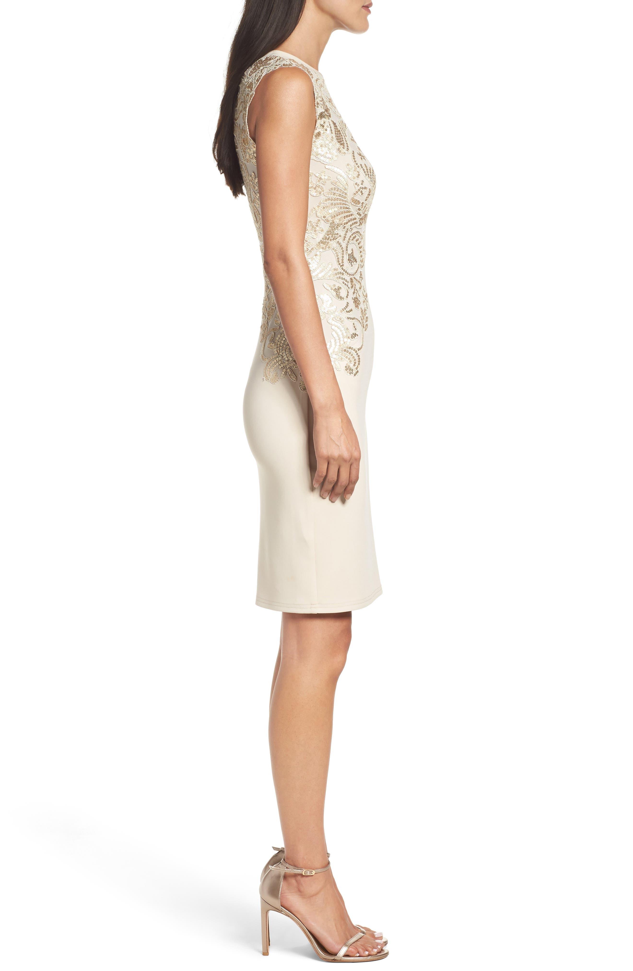 Sequin Appliqué Neoprene Sheath Dress,                             Alternate thumbnail 3, color,                             250