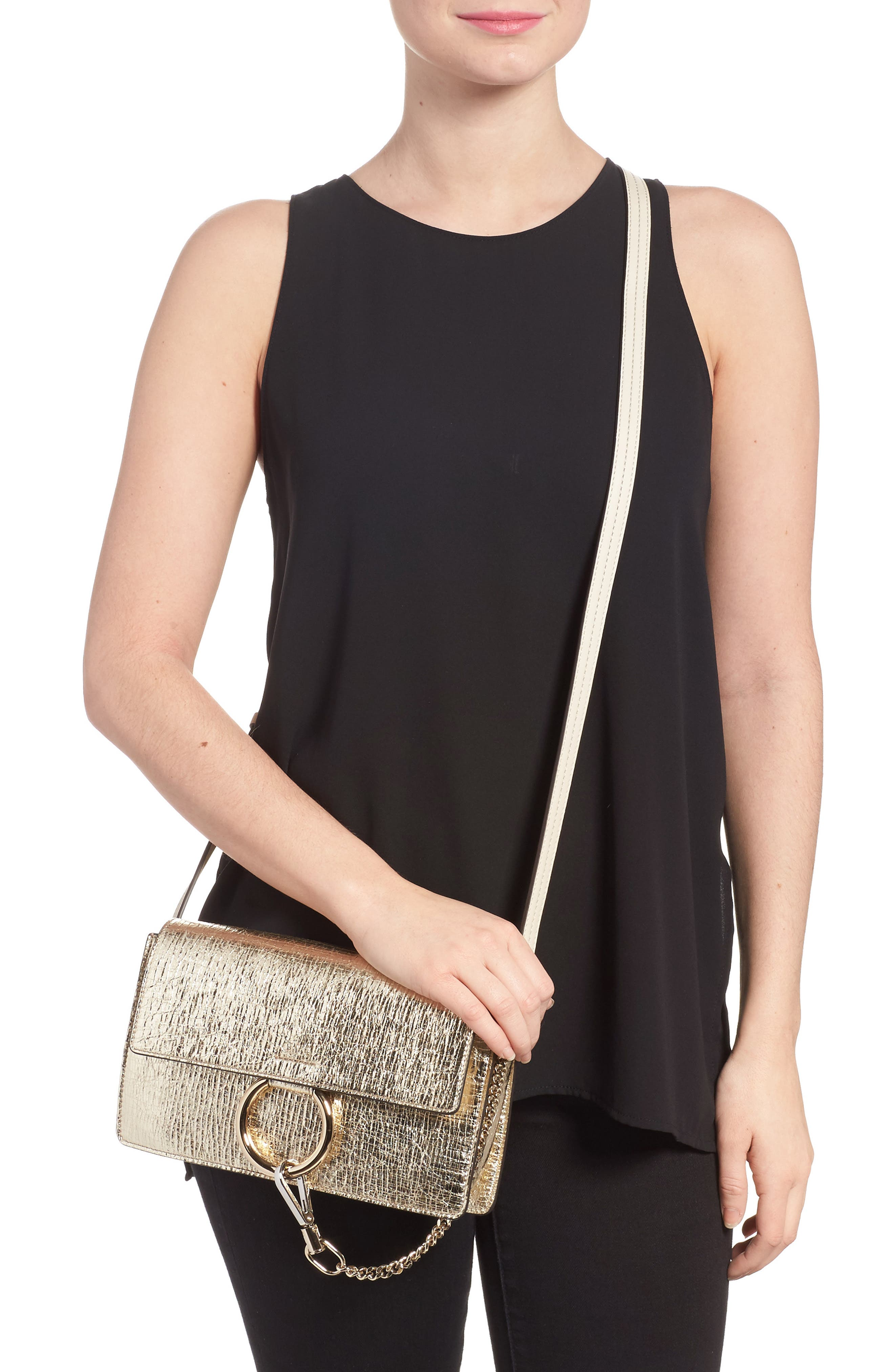 Small Faye Metallic Leather Shoulder Bag,                             Alternate thumbnail 2, color,                             GOLD