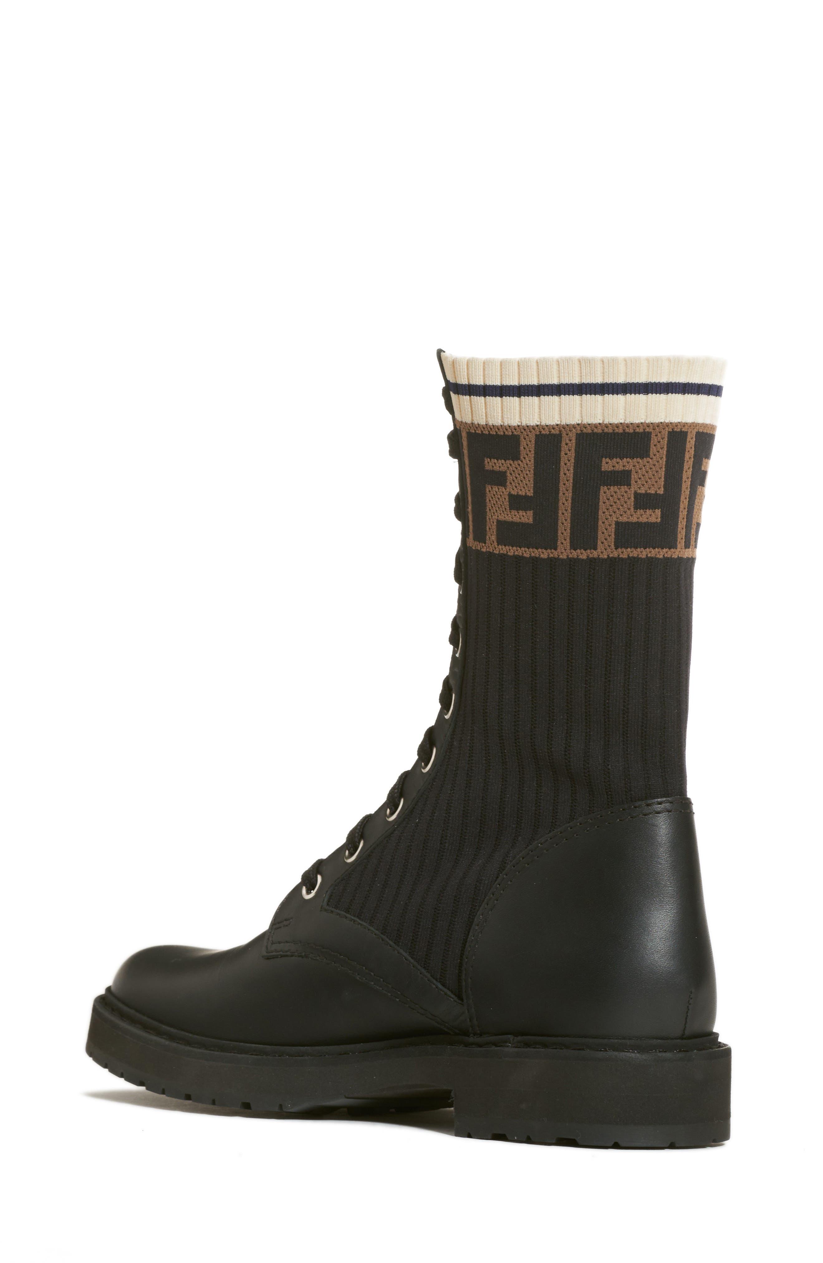 FENDI,                             Rockoko Chelsea Sock Combat Boot,                             Alternate thumbnail 2, color,                             004