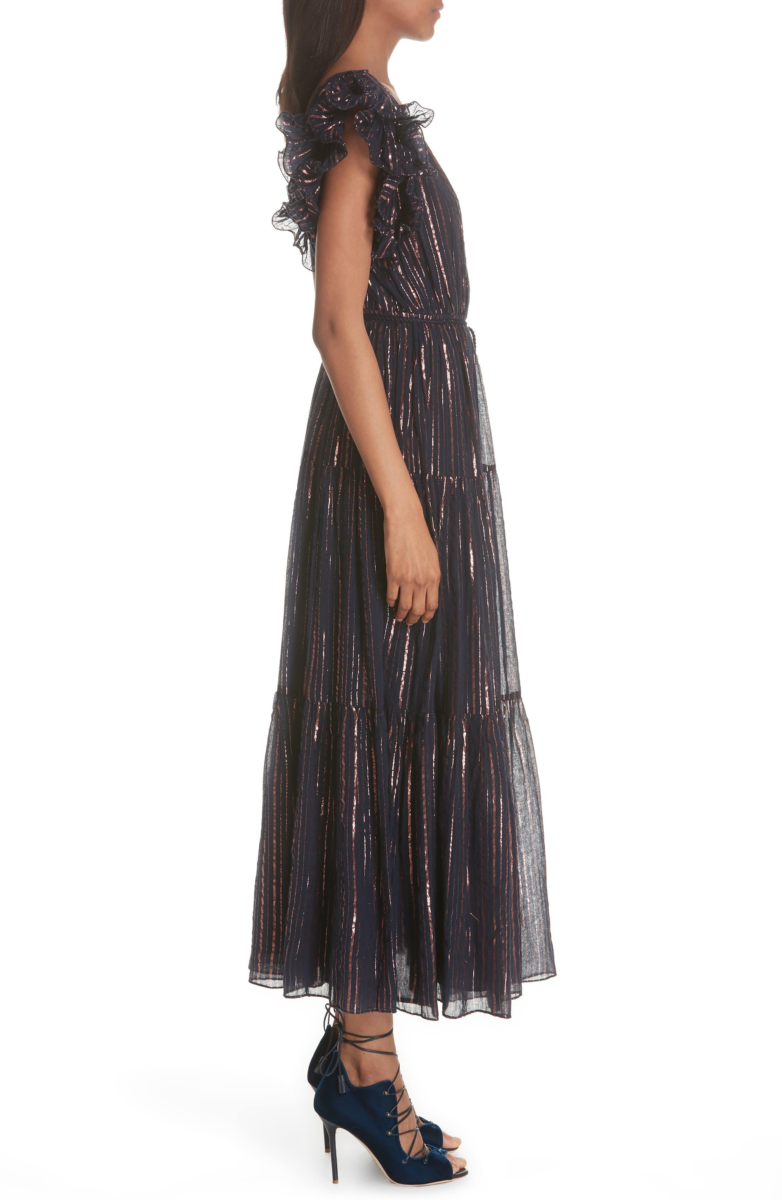 ULLA JOHNSON,                             Liliana Metallic Stripe Dress,                             Alternate thumbnail 3, color,                             400
